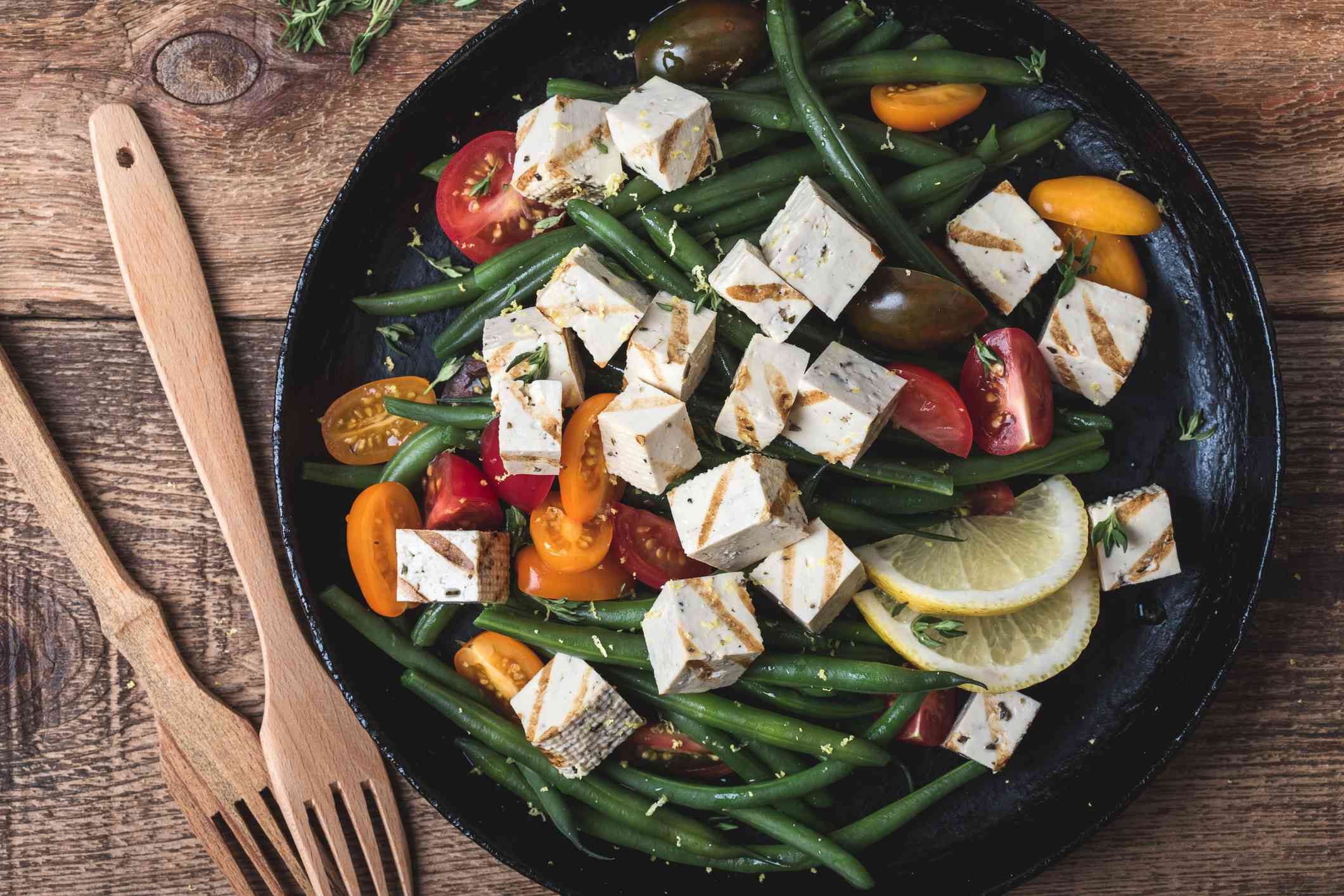 Vegan meal, healthy green beans salad with grilled tofu