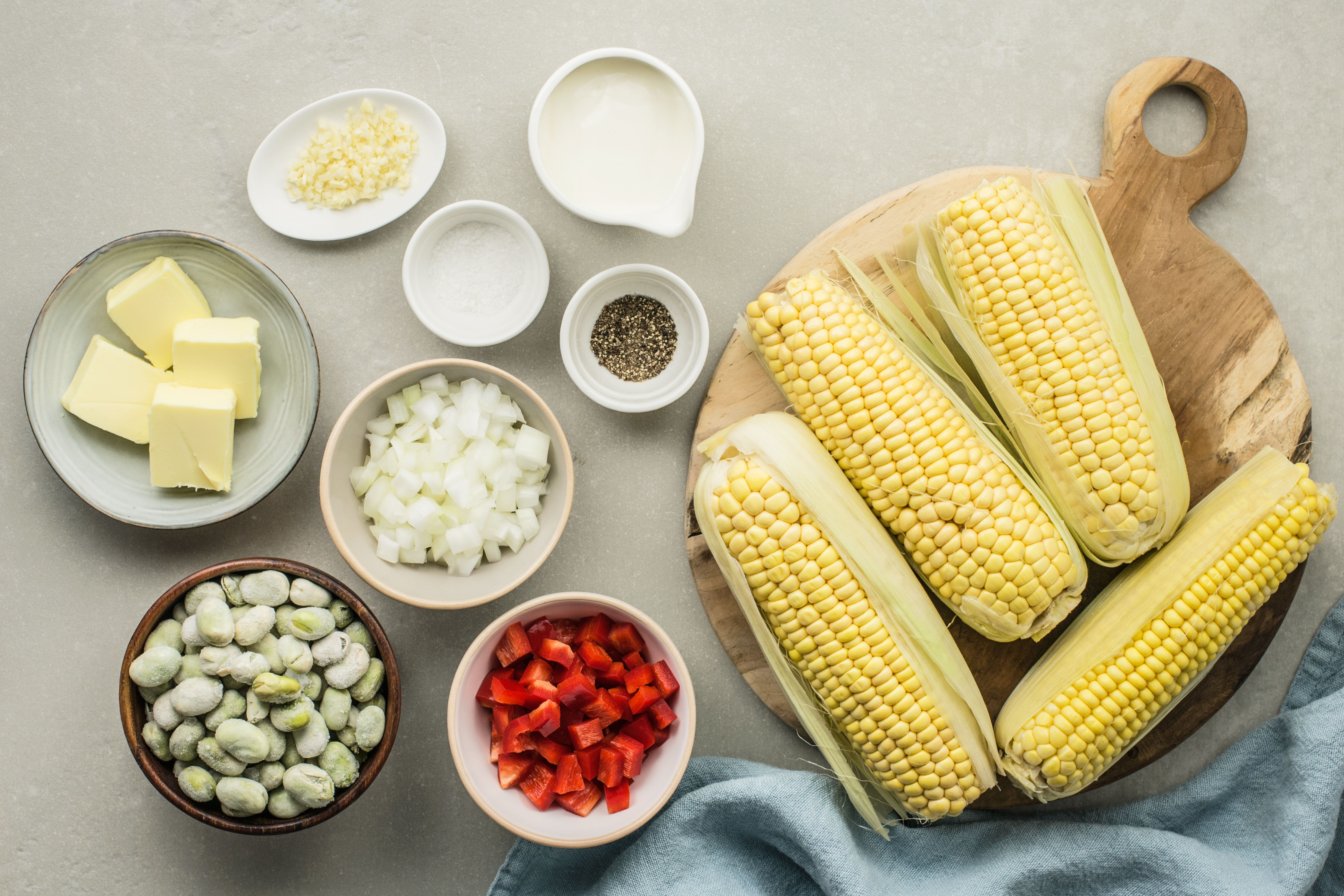 Gather the ingredients for creamy succotash