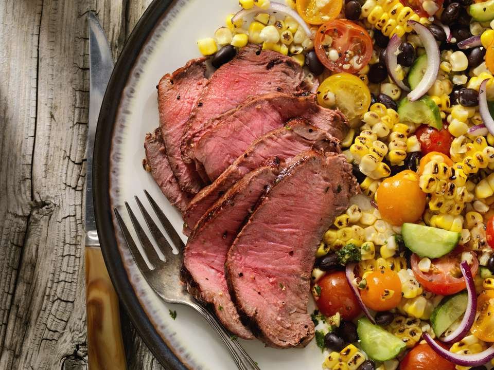 Sirloin steak and corn salad
