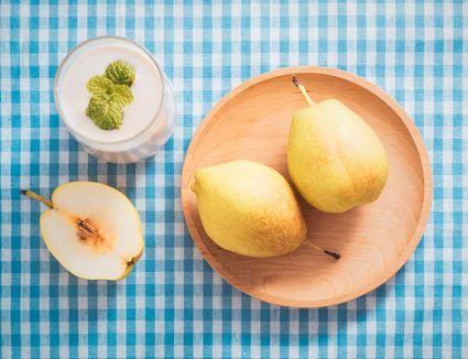 Pears Mint Milkshake on Blue Tablecloth