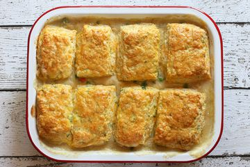 Chicken Pie With Cheese and Green Onion Biscuits