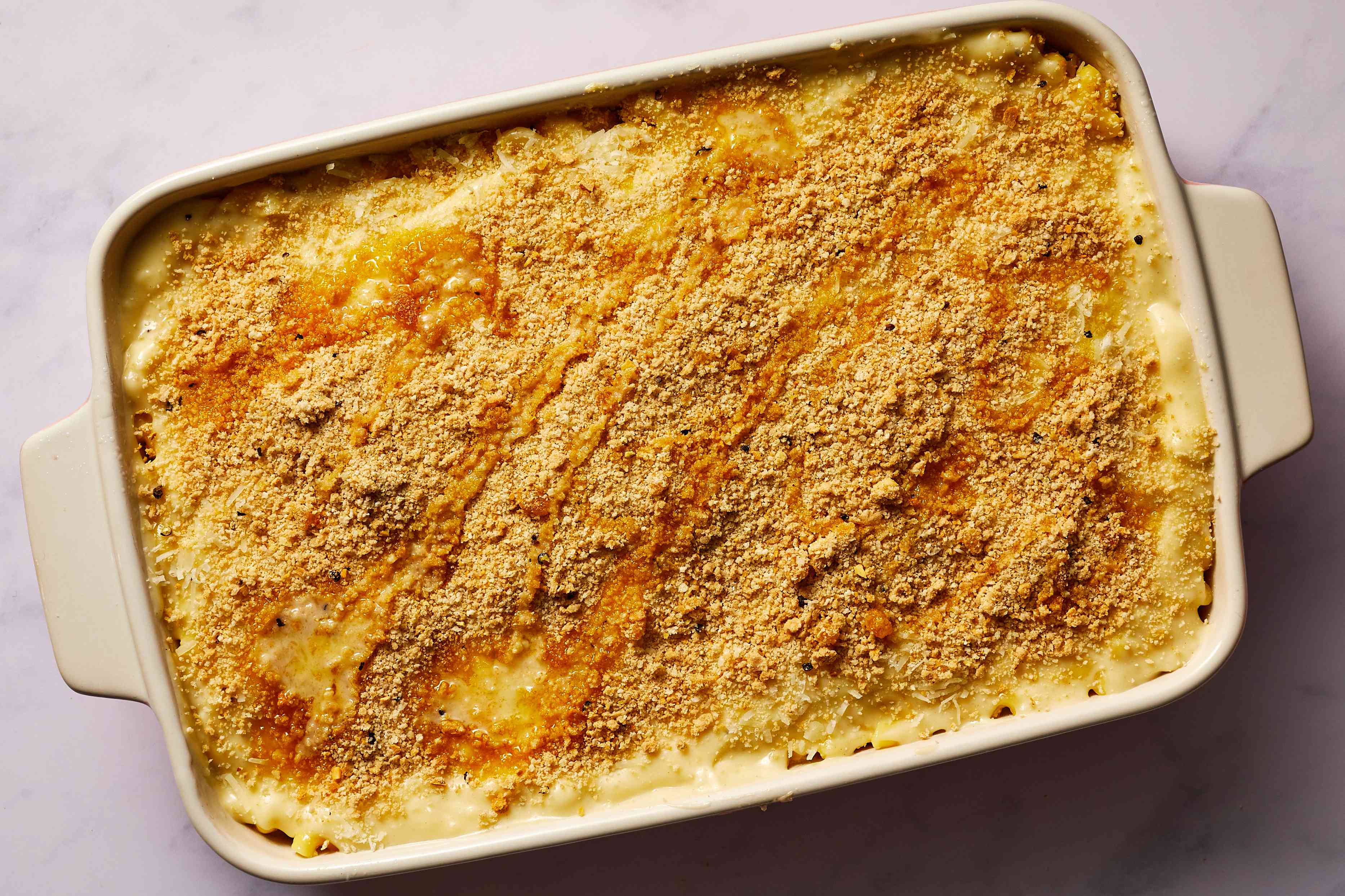 Greek Macoroni and Cheese Baked Pasta in a baking dish