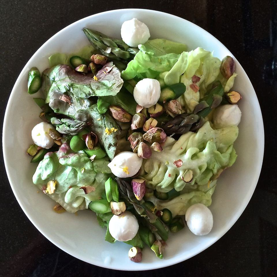 Asparagus Butter Lettuce Salad With Pistachios
