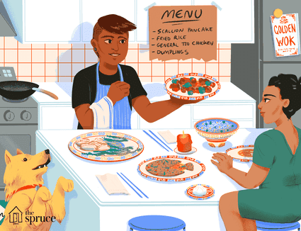 illustration featuring couple eating homemade chinese food