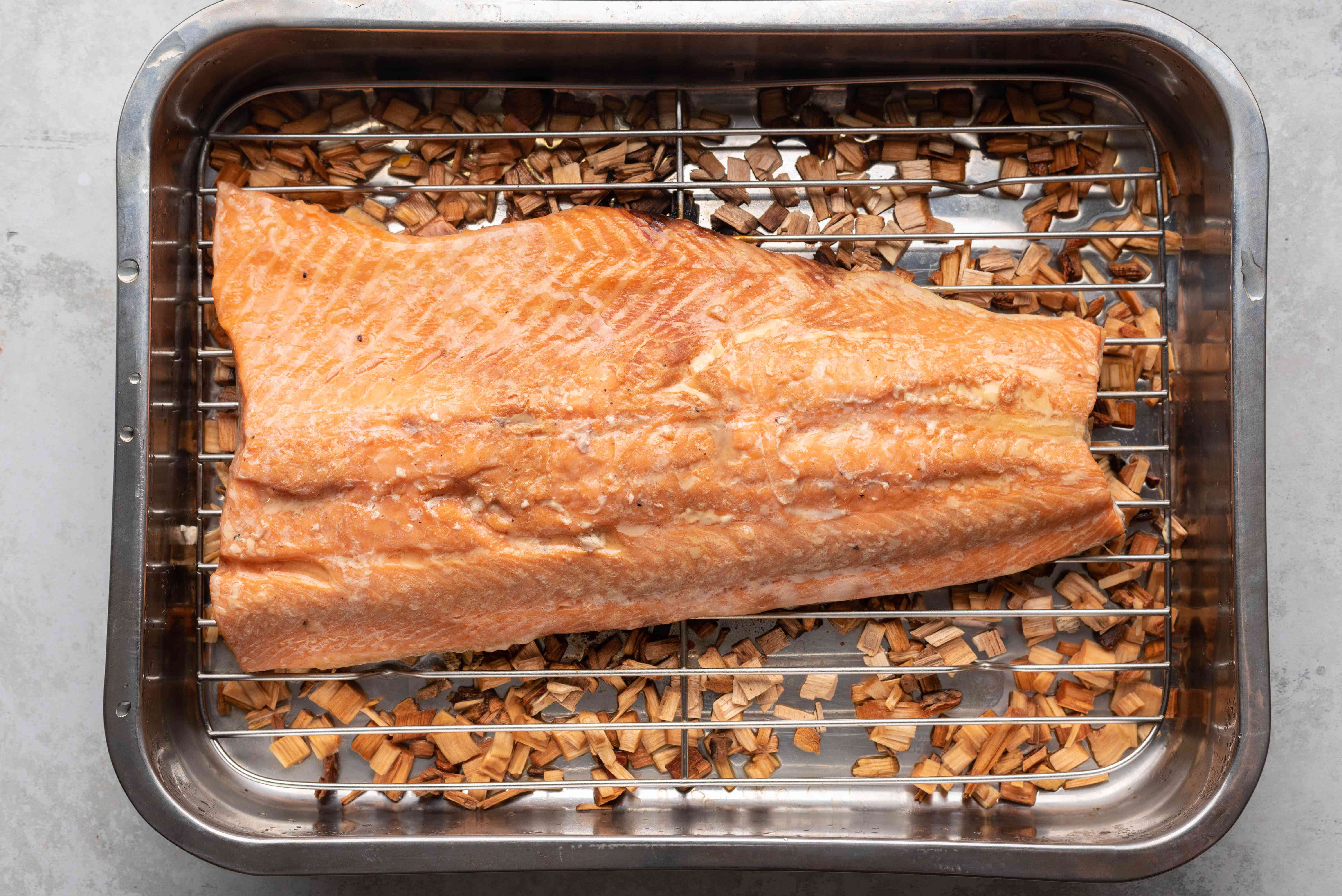 Stove Top Smoked Salmon in a roasting pan
