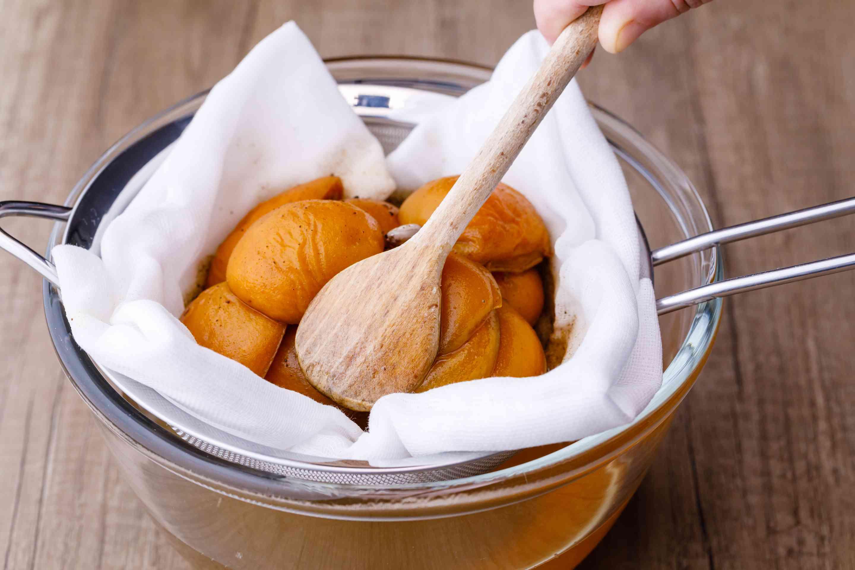 Press down apricots
