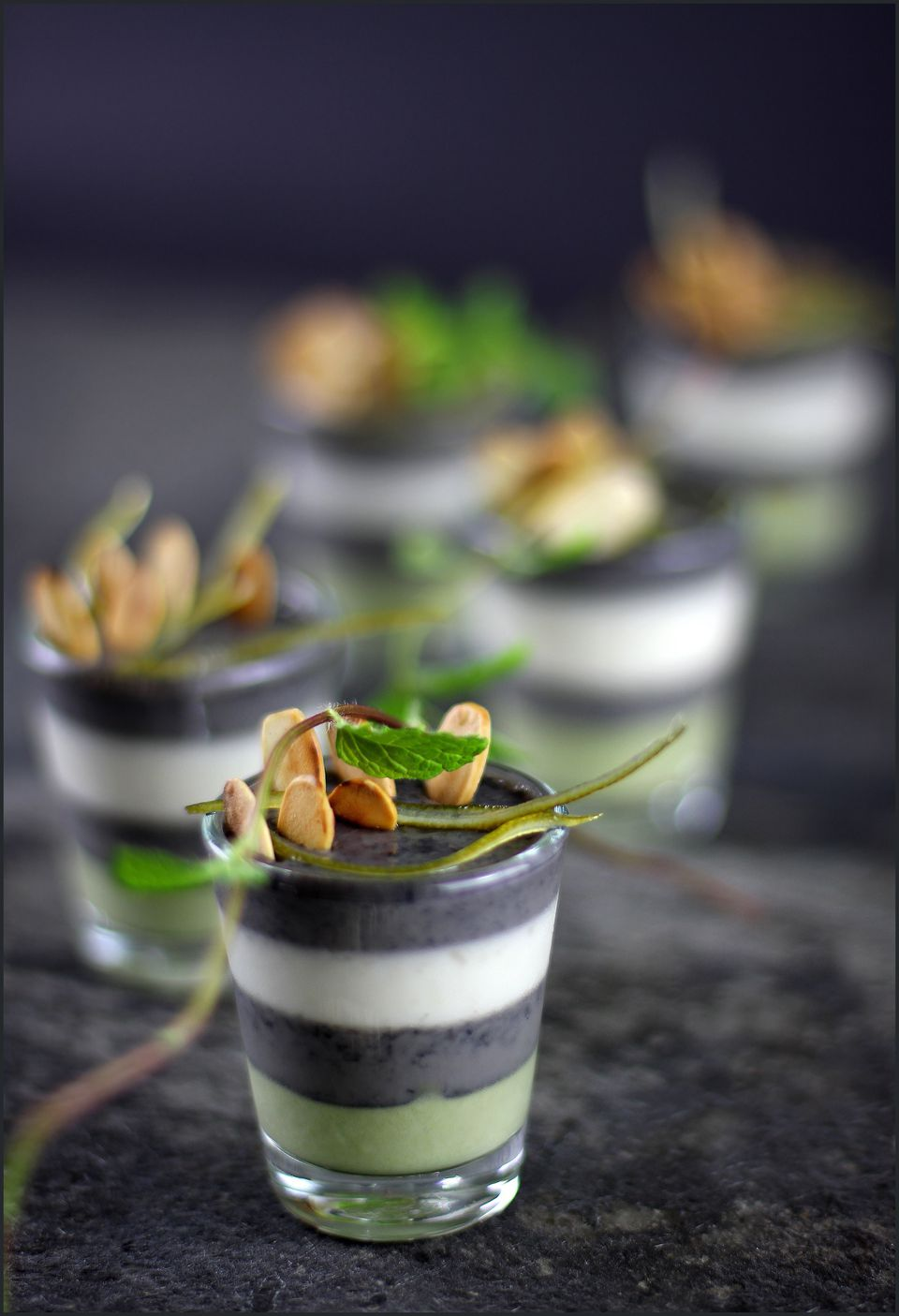 Black sesame seed mousse and a matcha Pandan cream.