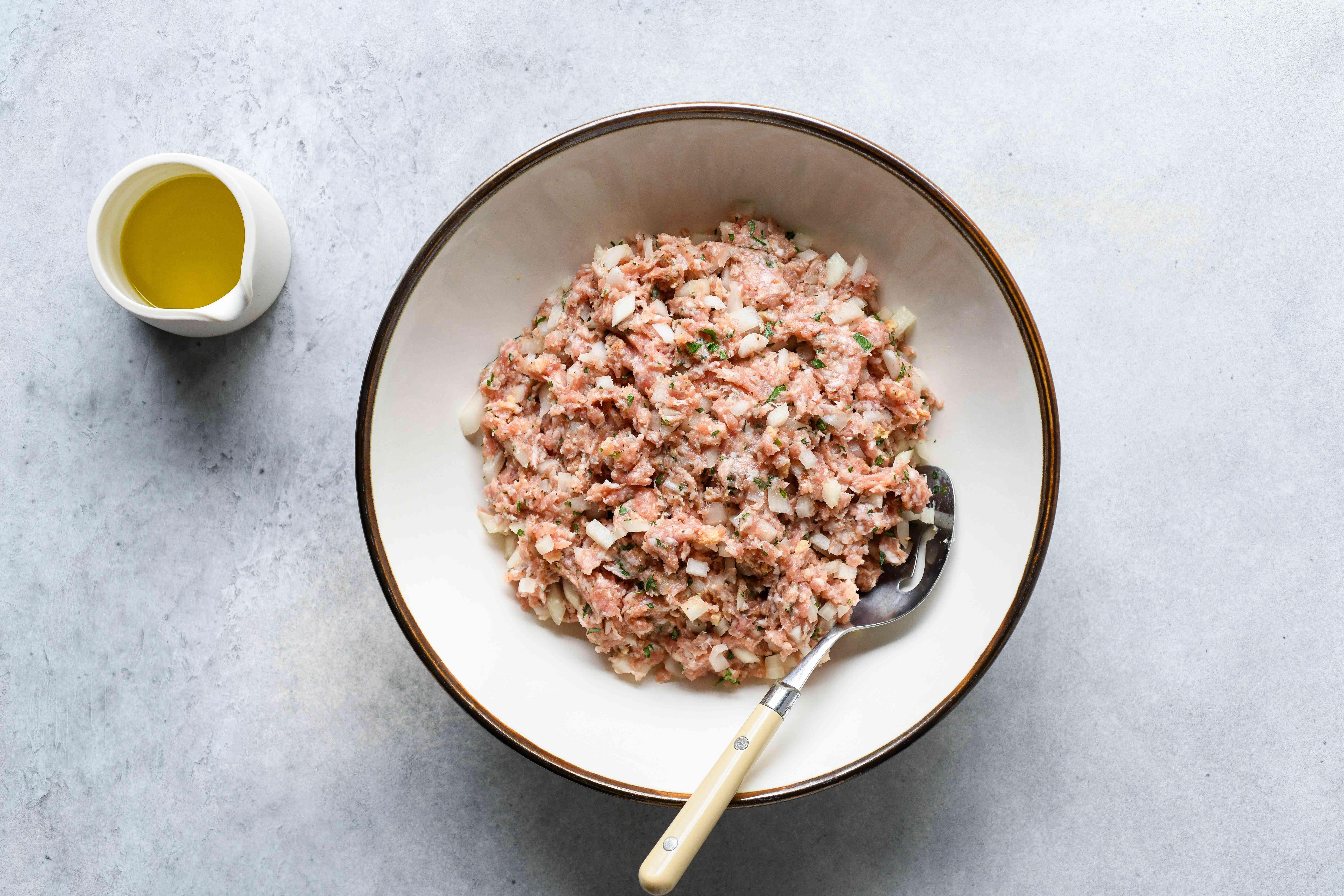 Pork and Onion Meatballs mixture