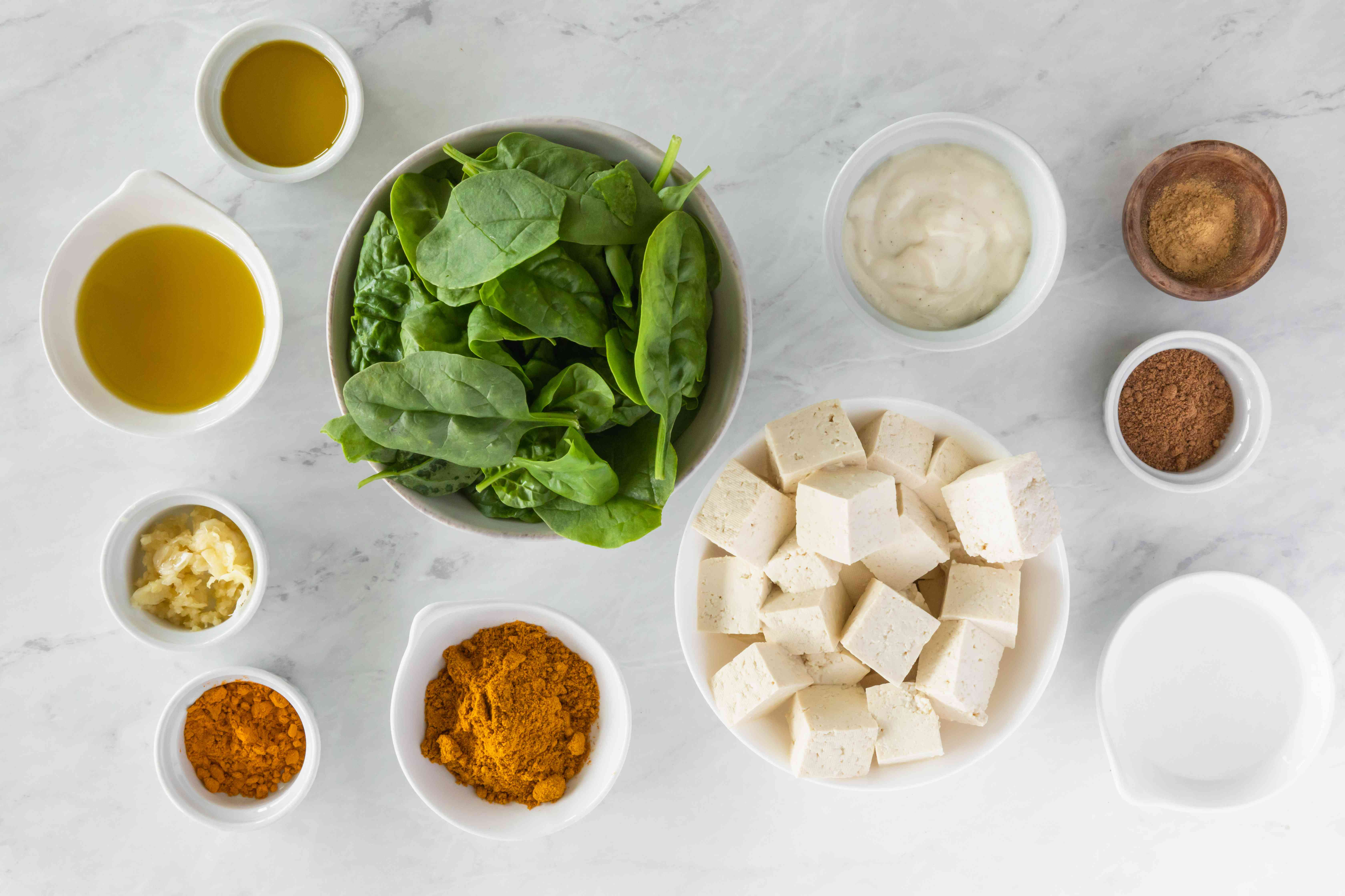 Ingredients for Indian palak paneer spinach and tofu