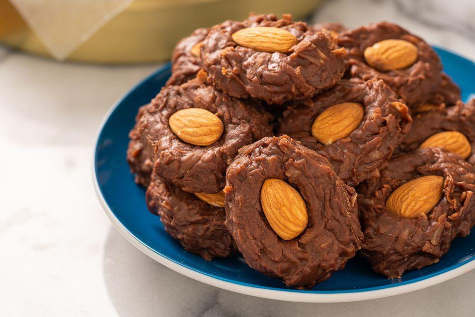almond joy cookies on a plate