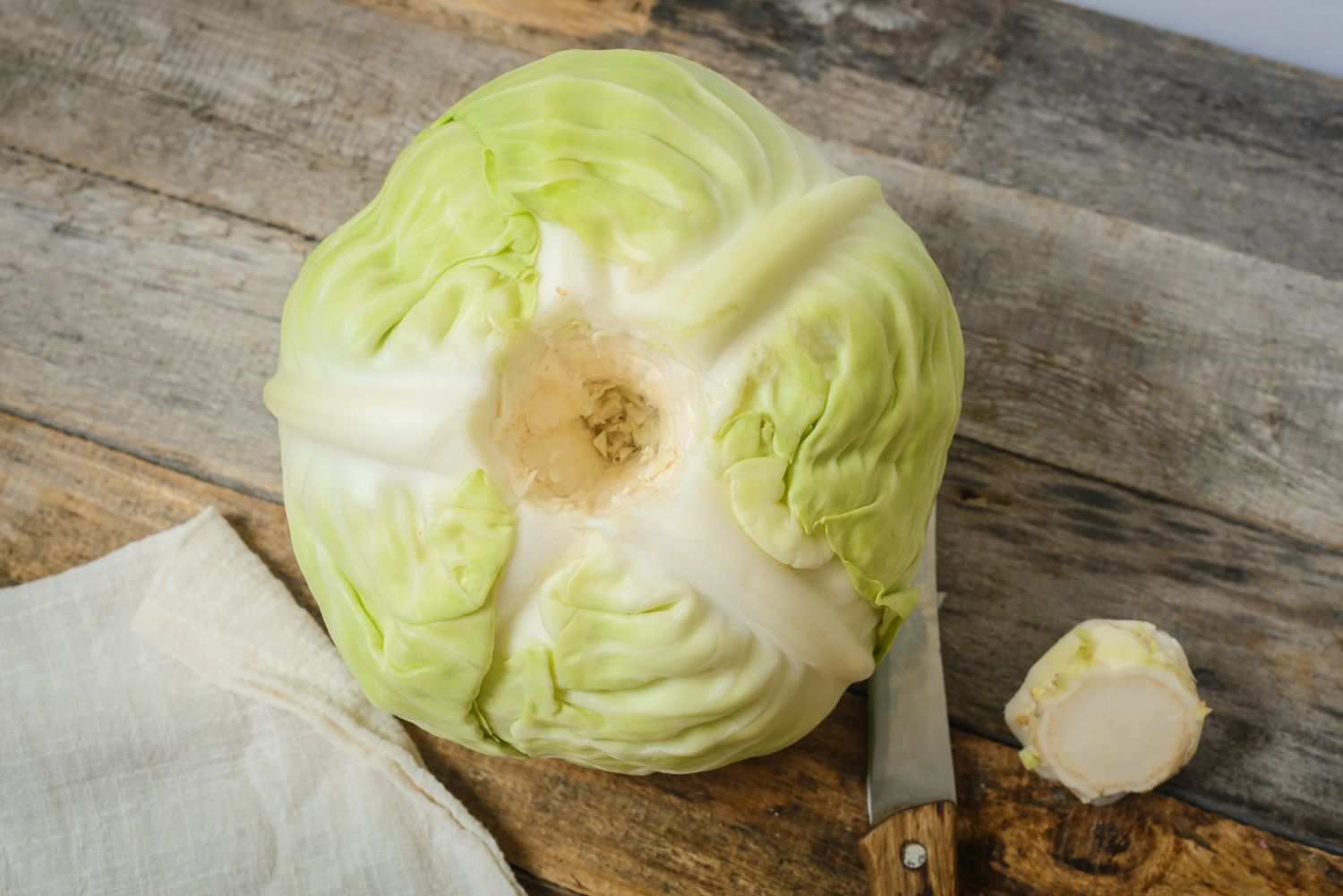 Core cut out of cabbage