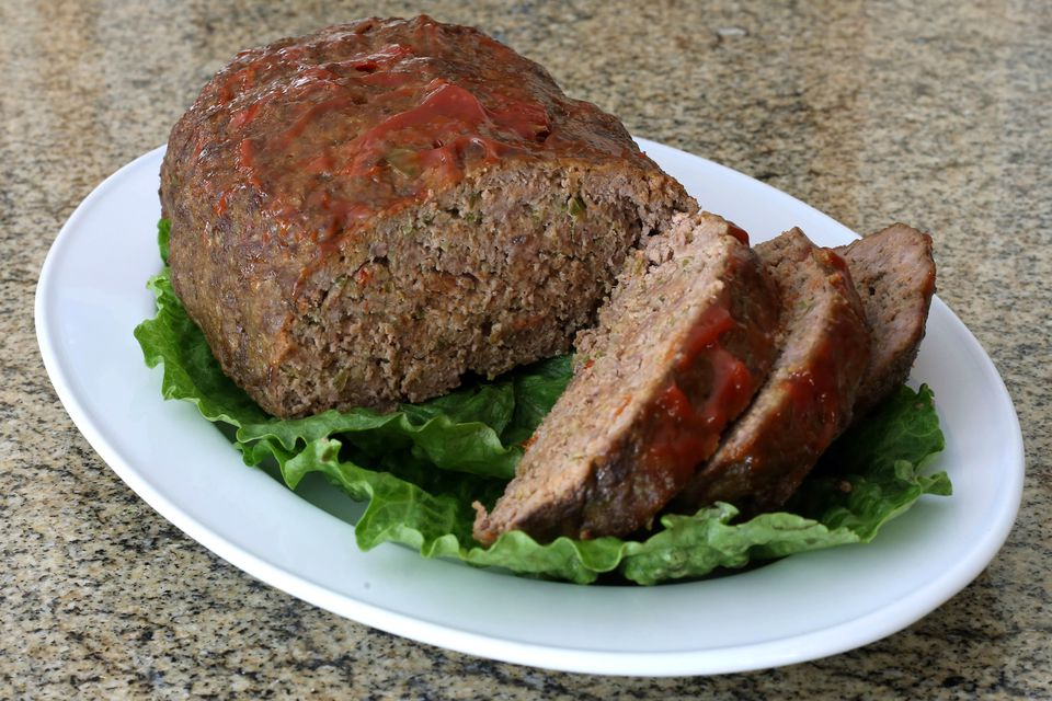 meatloaf on a bed of greens