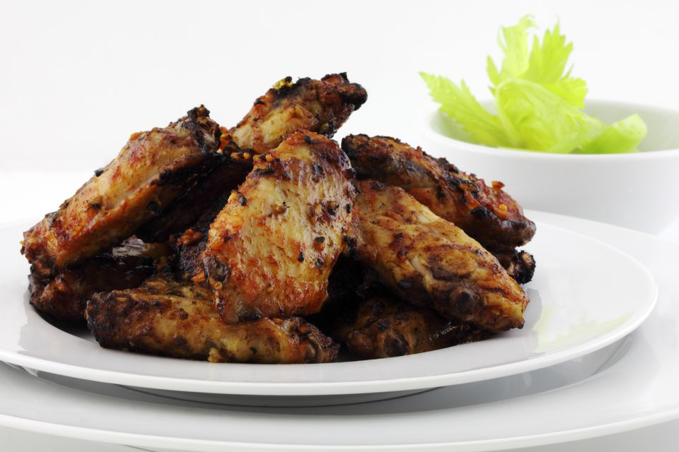 Barbecue Chicken wings and celery
