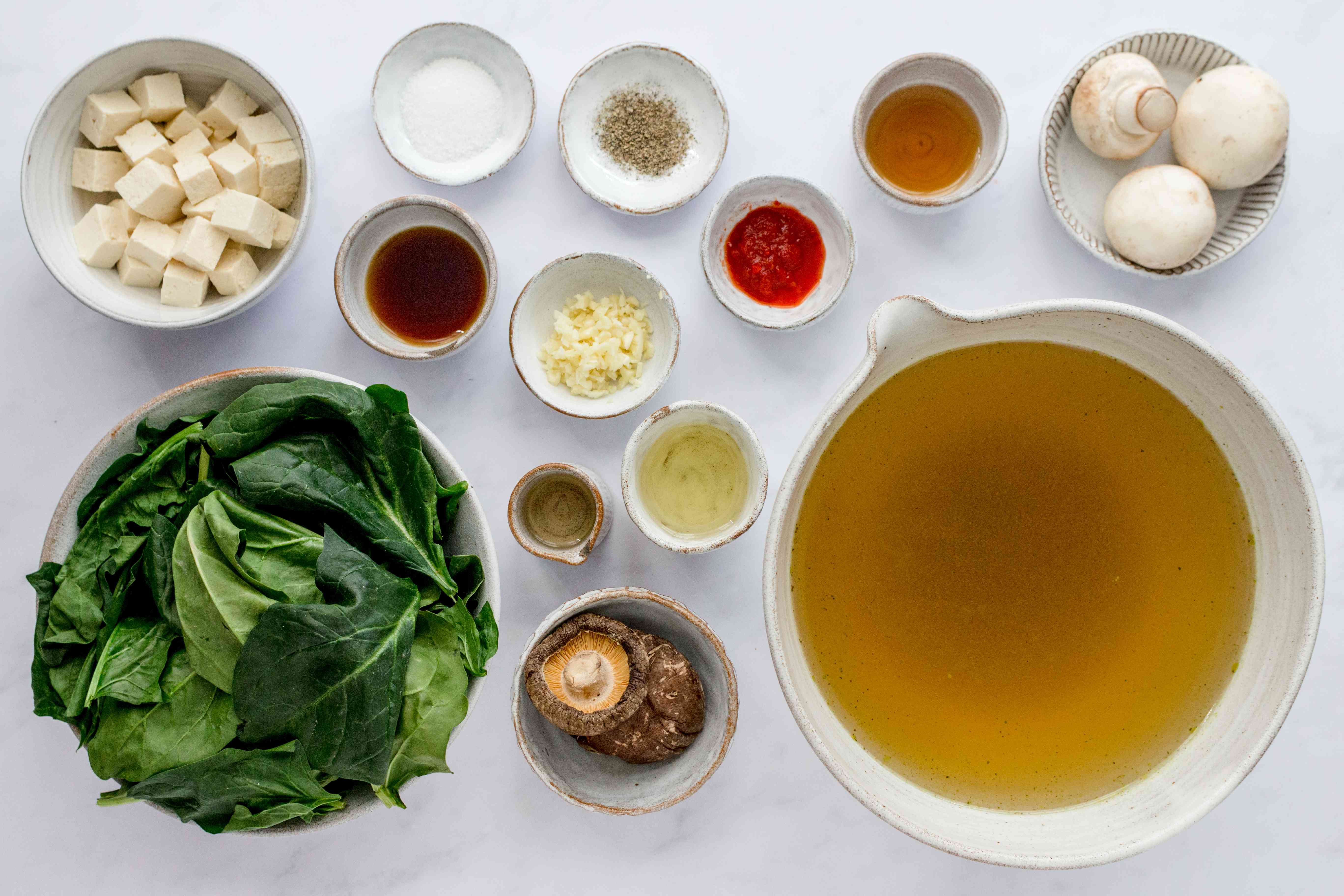 Healthy Spinach Soup With Tofu ingredients