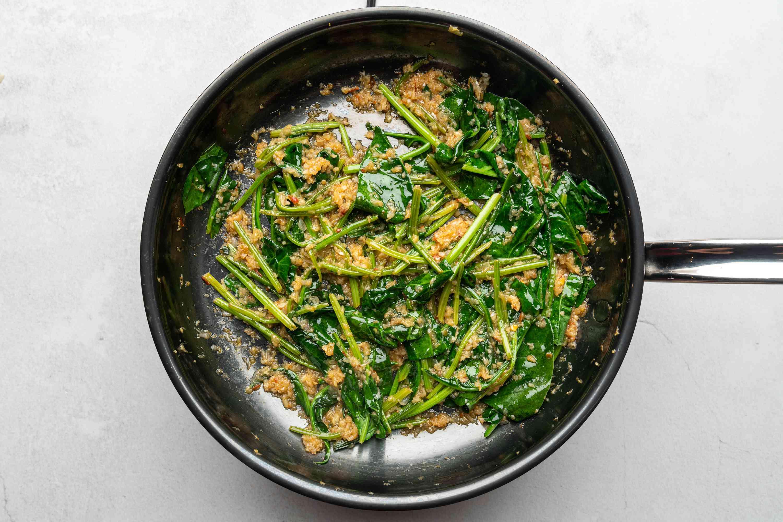 Sambal Kangkung With Shrimp Paste in a pan