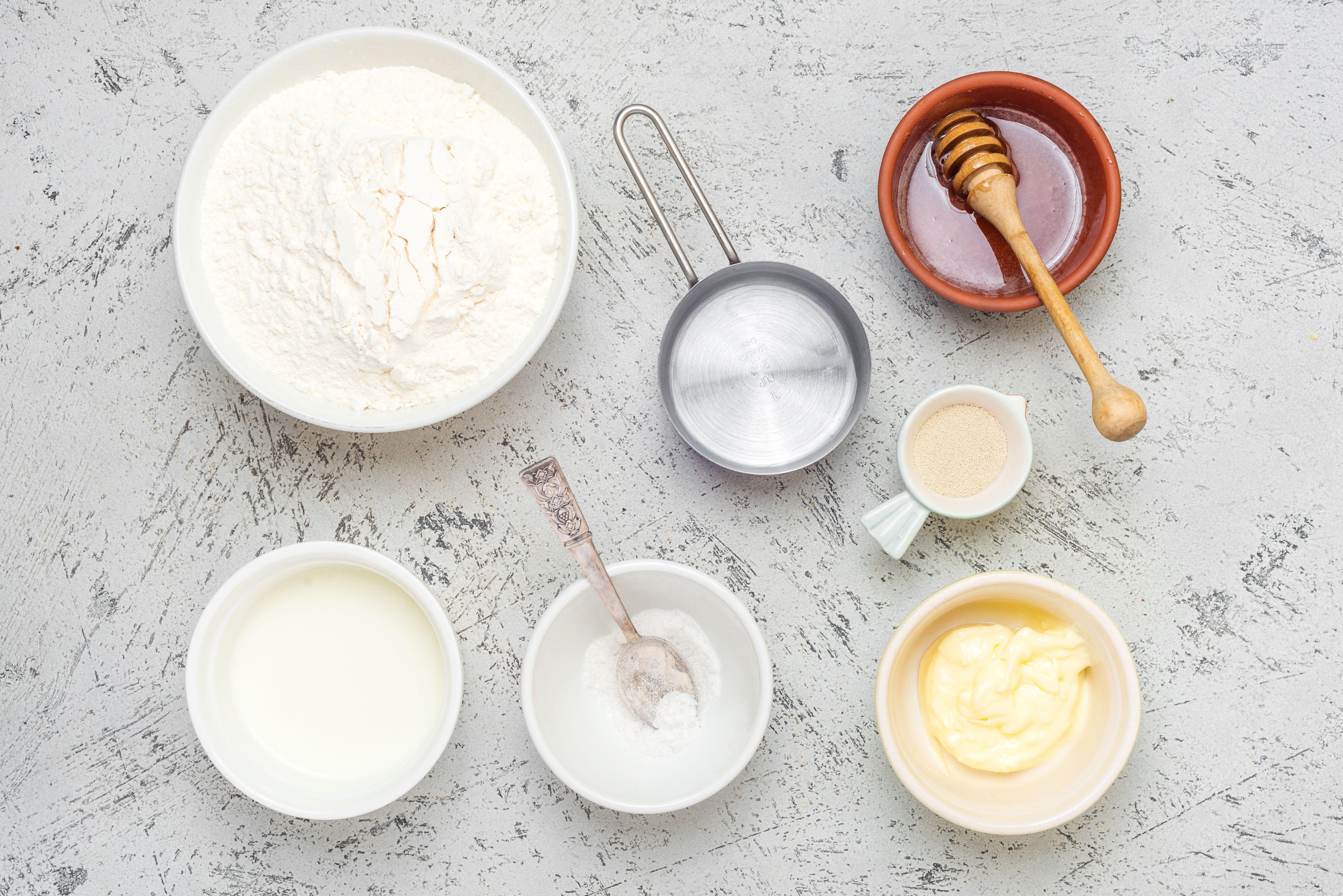 Ingredients for honey buttermilk bread