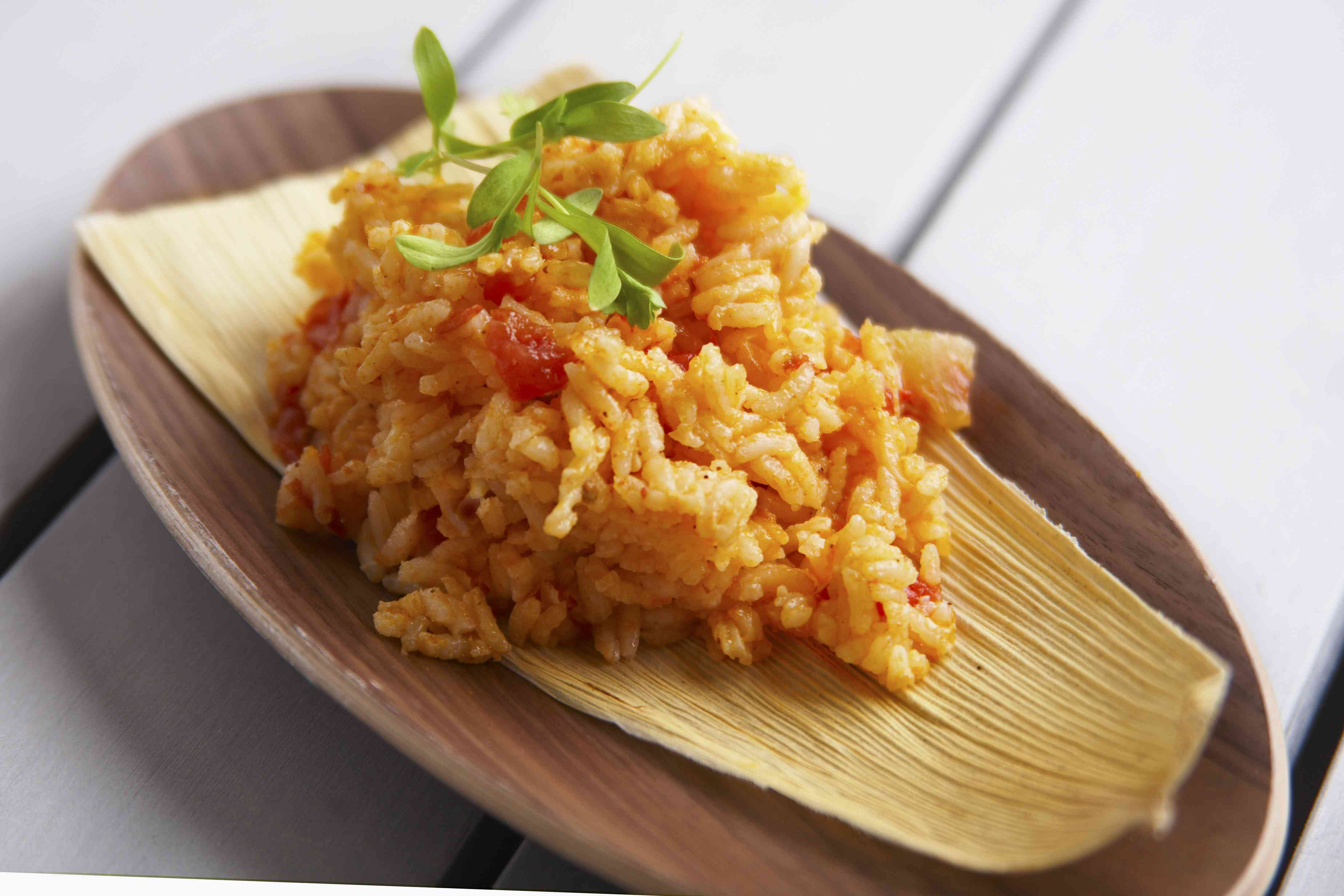 Achiote rice with cardigan