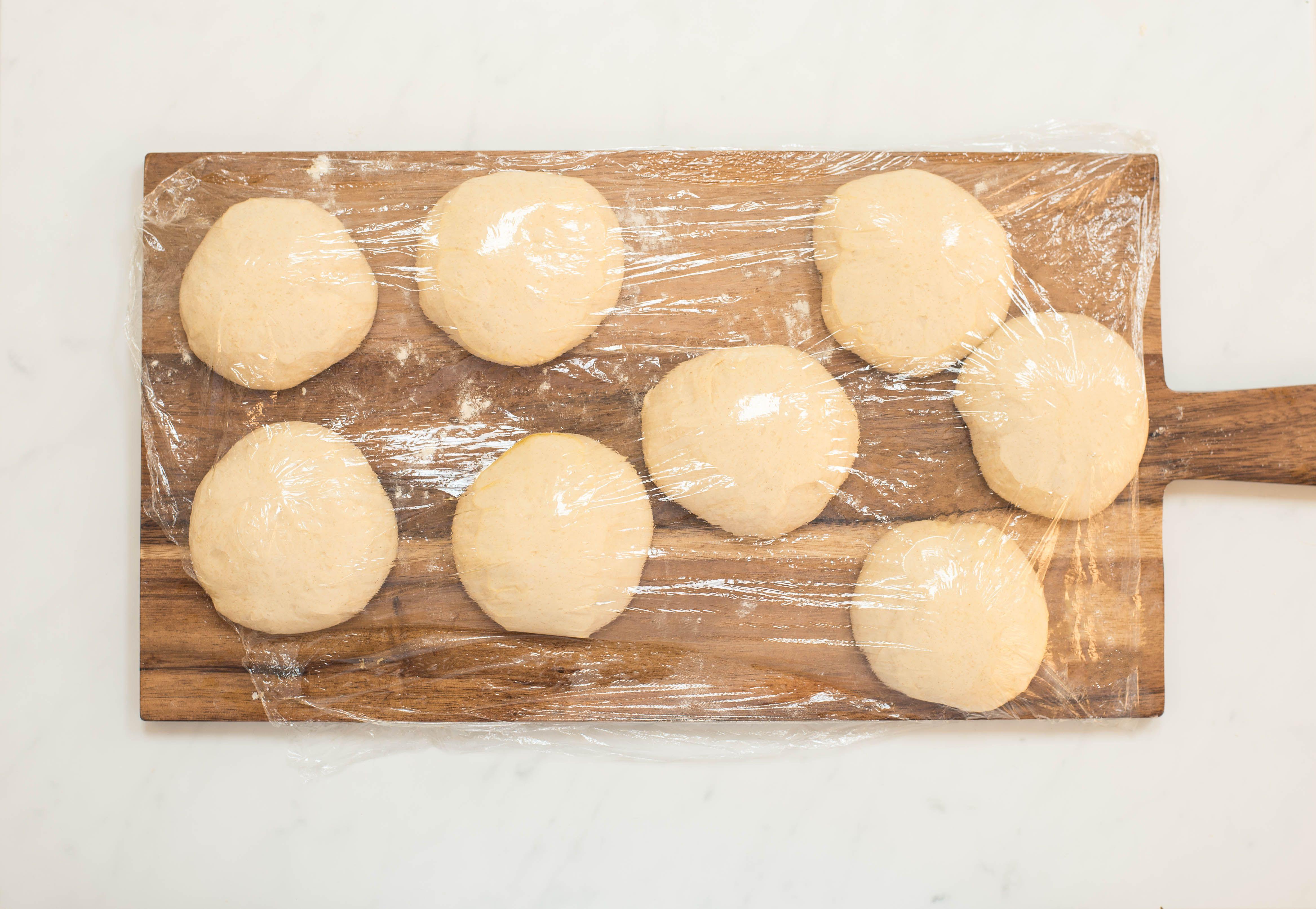 Saran wrap over dough