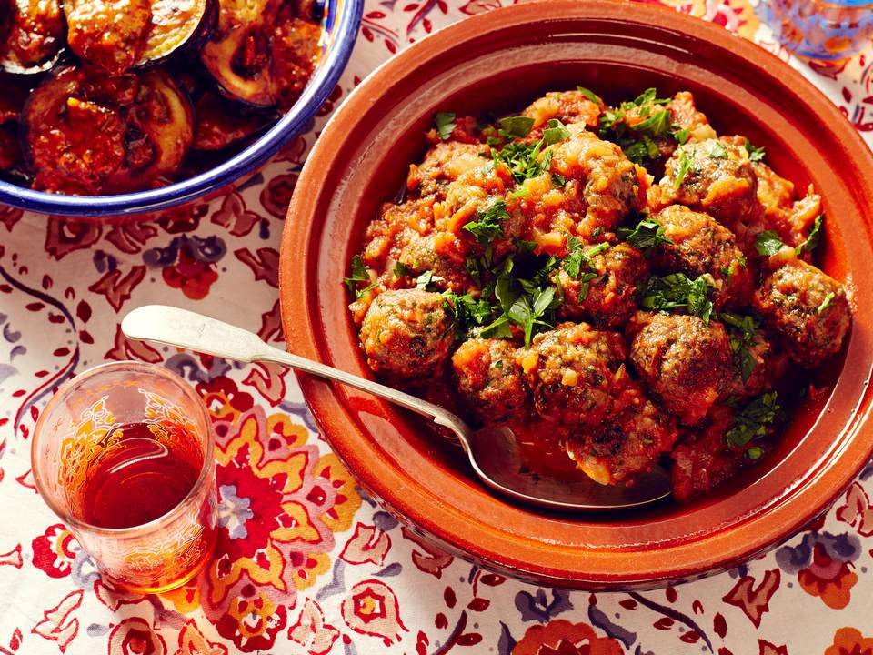 Moroccan Meatball Tagine in bowls.