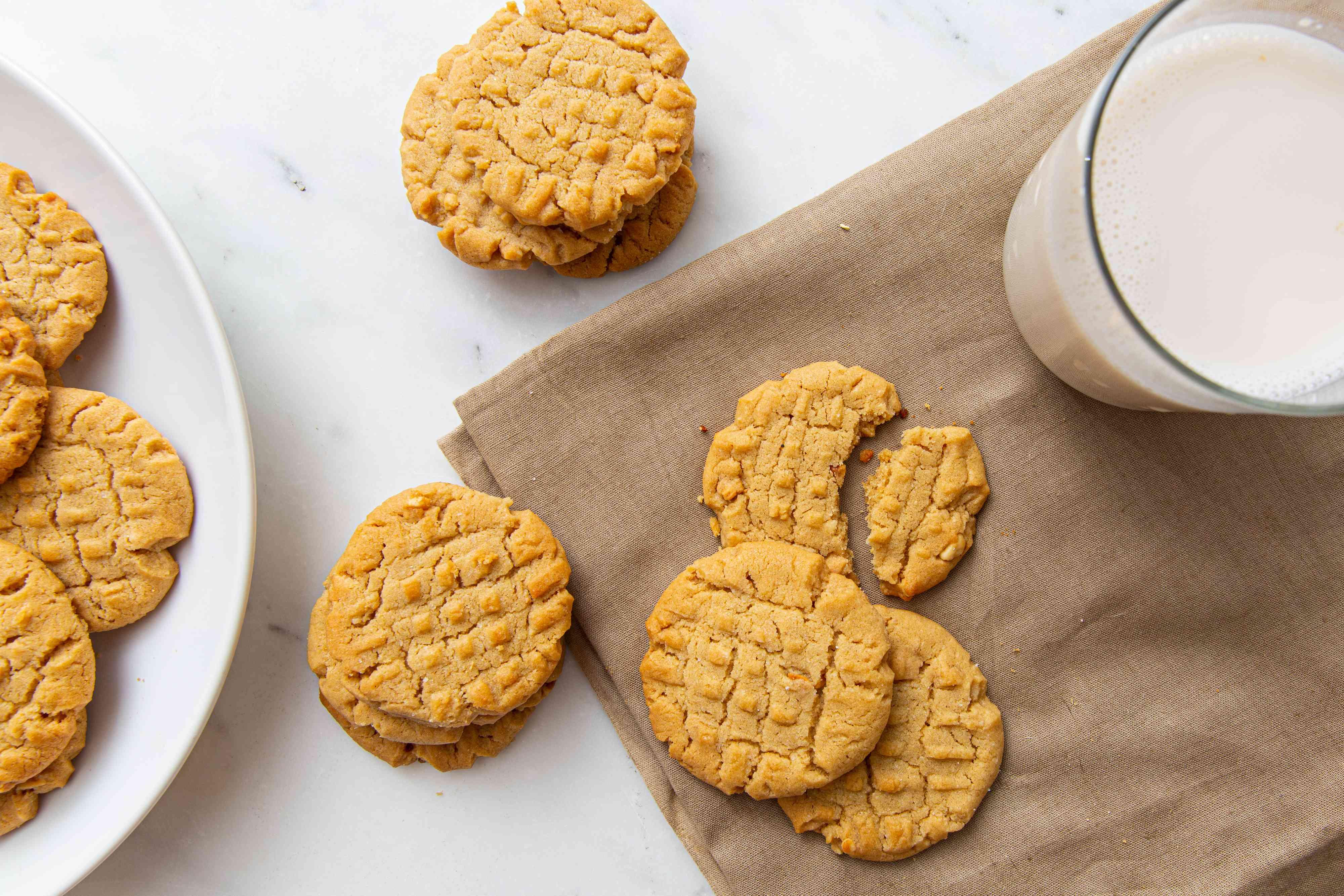 Crunchy Peanut Butter Cookies, glass of milk