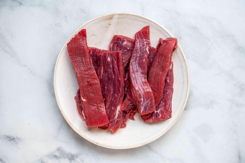 flank steak cut into strips