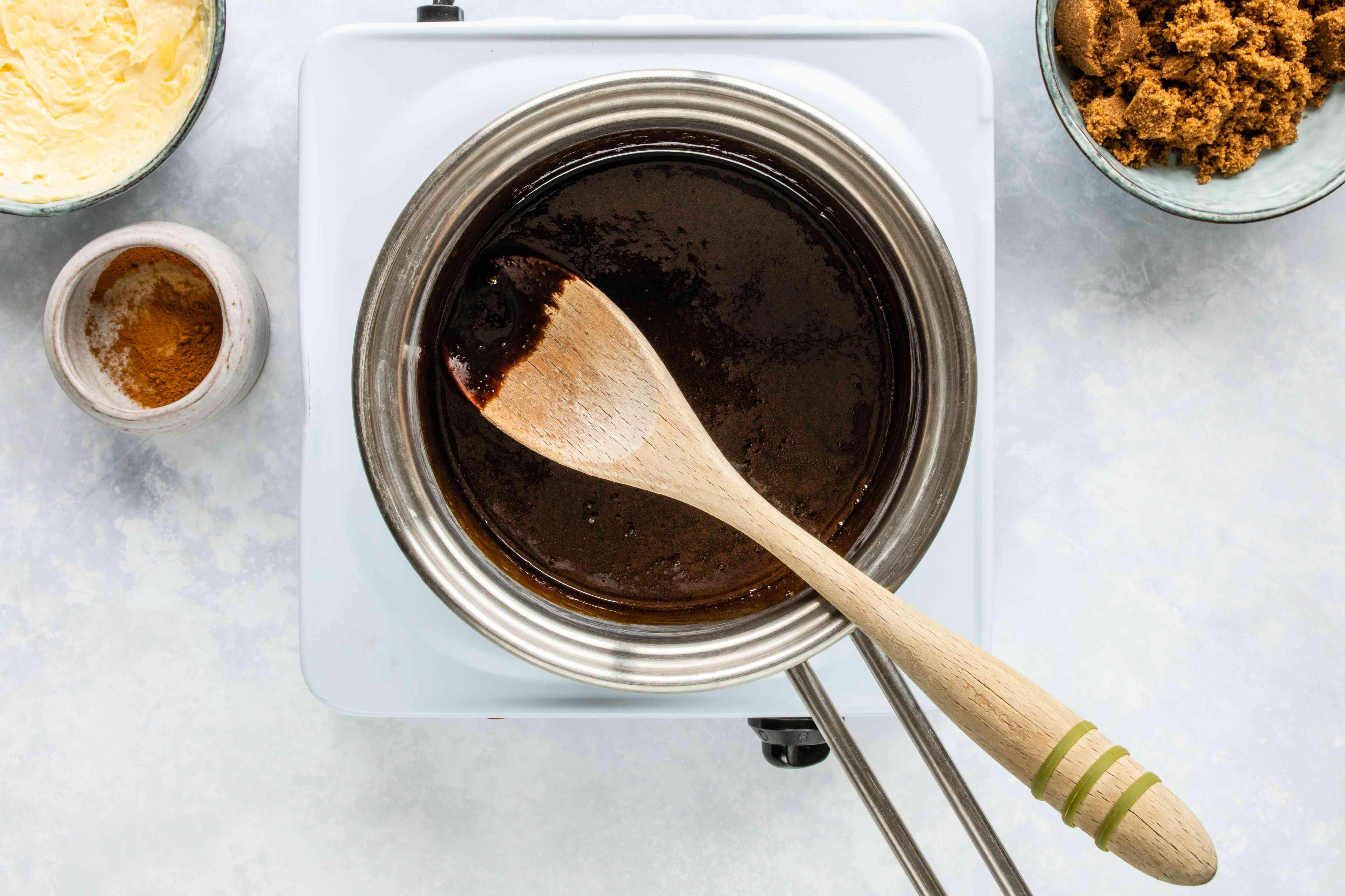 Warm the molasses