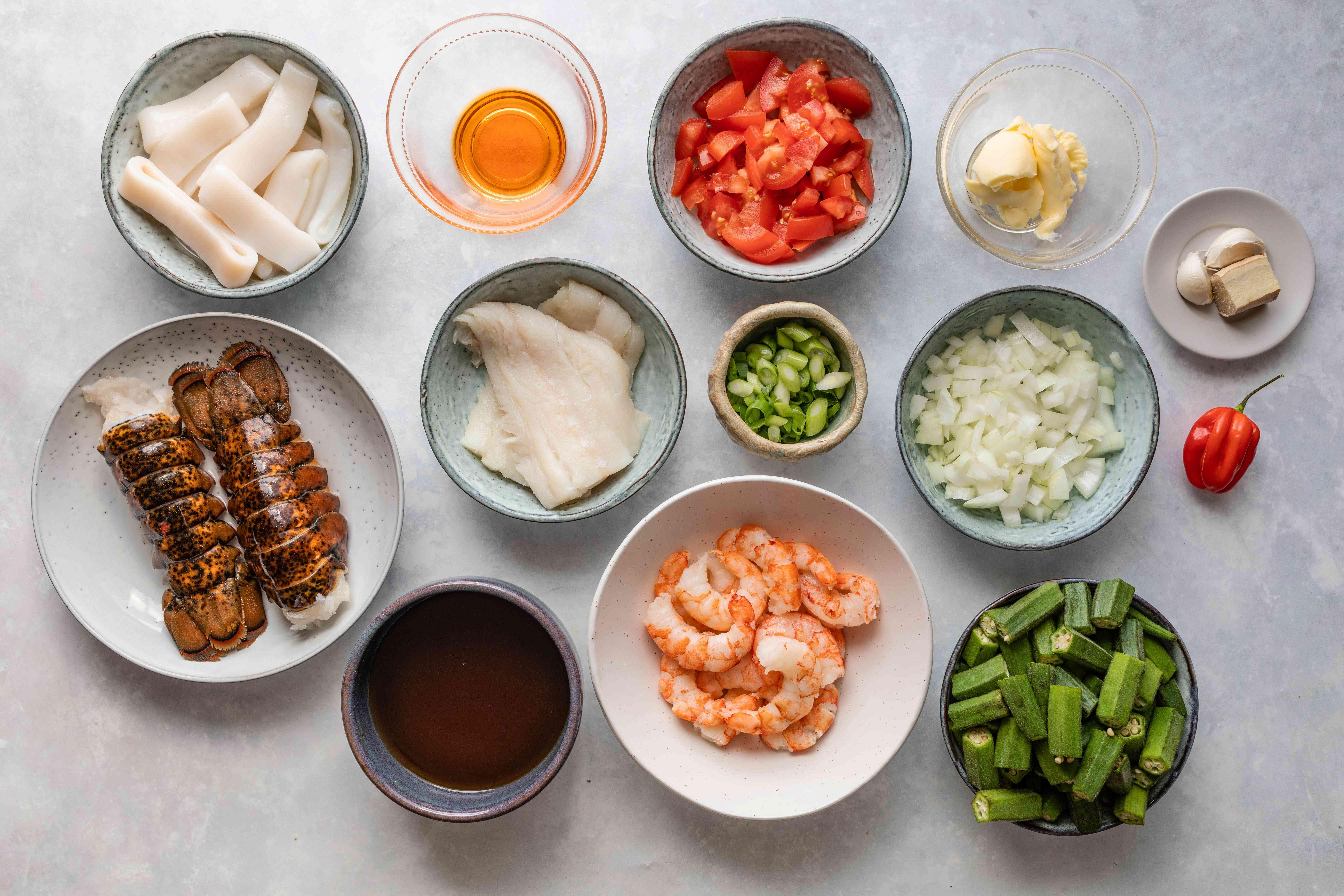 Ingredients for okra stew