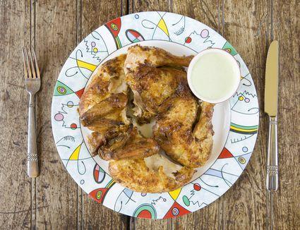 Peruvian chicken and salsa