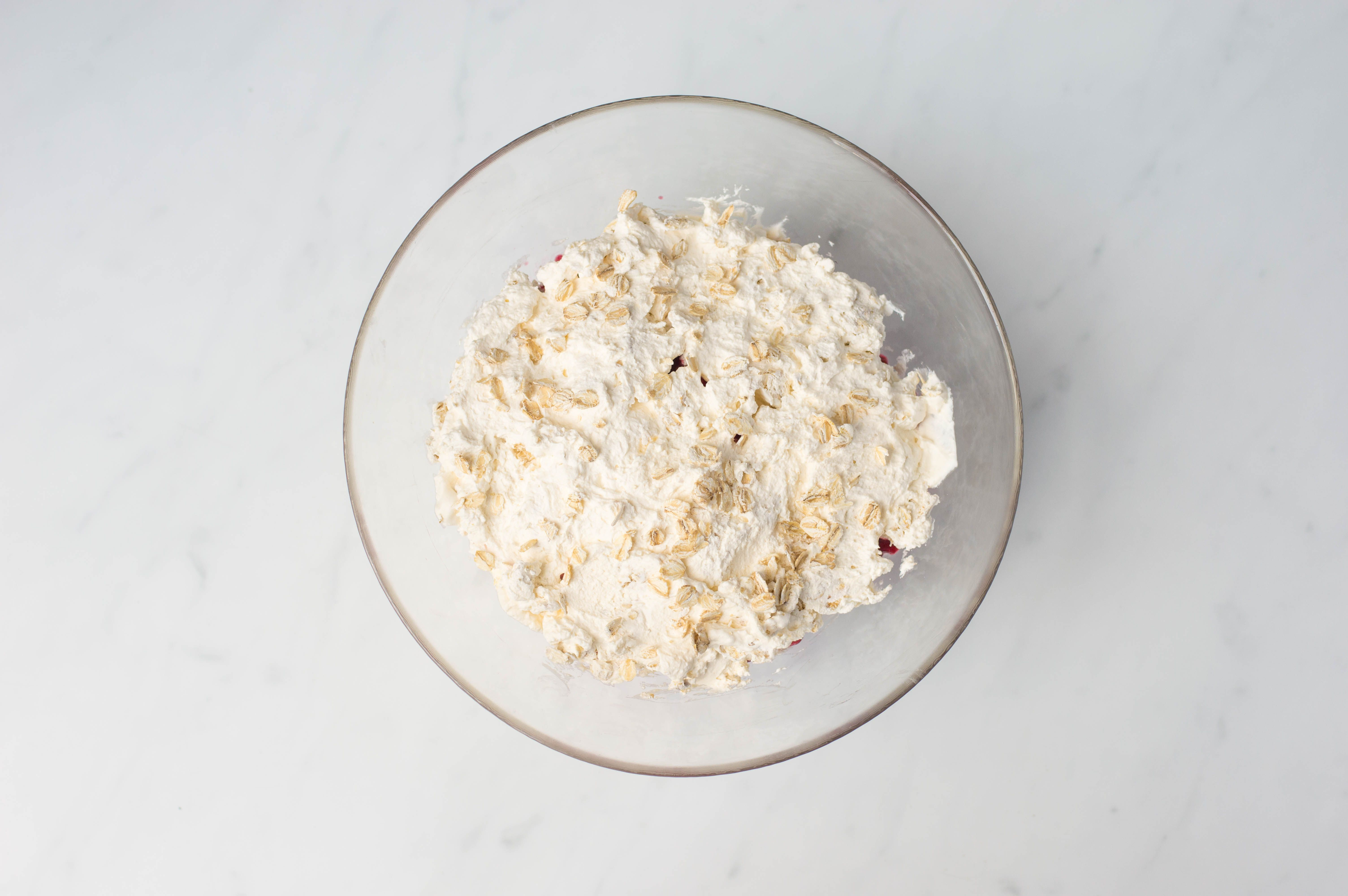 Cream and oatmeal mixture in bowl