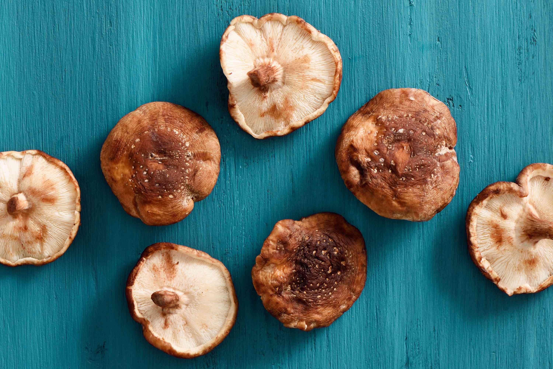 Shiitake mushrooms on a surface