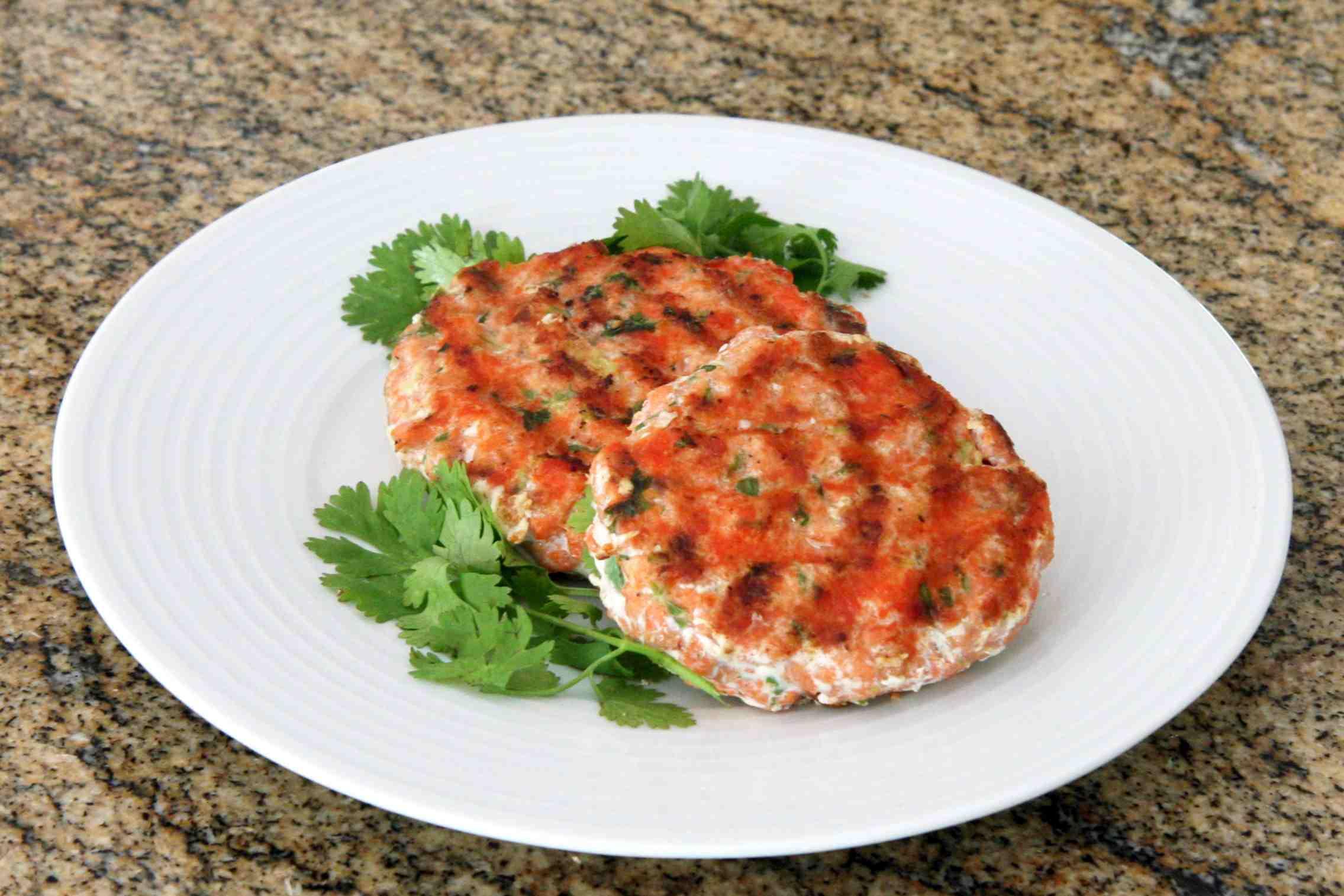 grilled salmon burgers made with sockeye salmon
