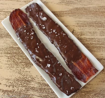 A sheet of chocolate covered bacon