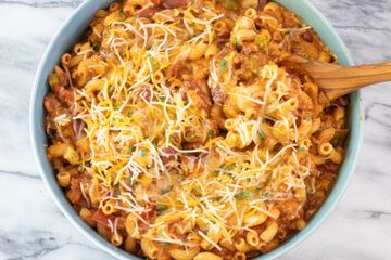 spicy chili mac in a serving bowl