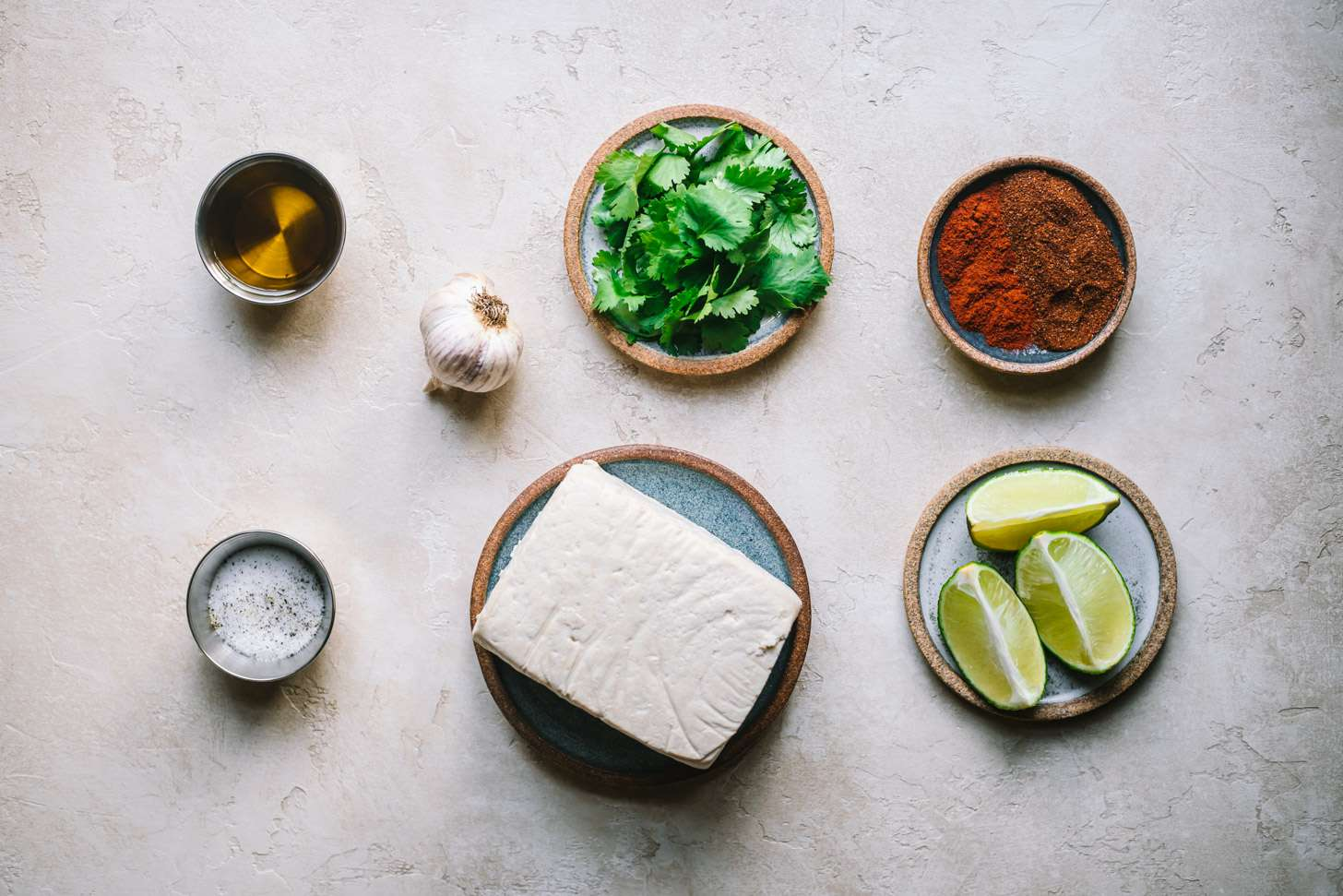 Ingredients for cilantro lime grilled tofu