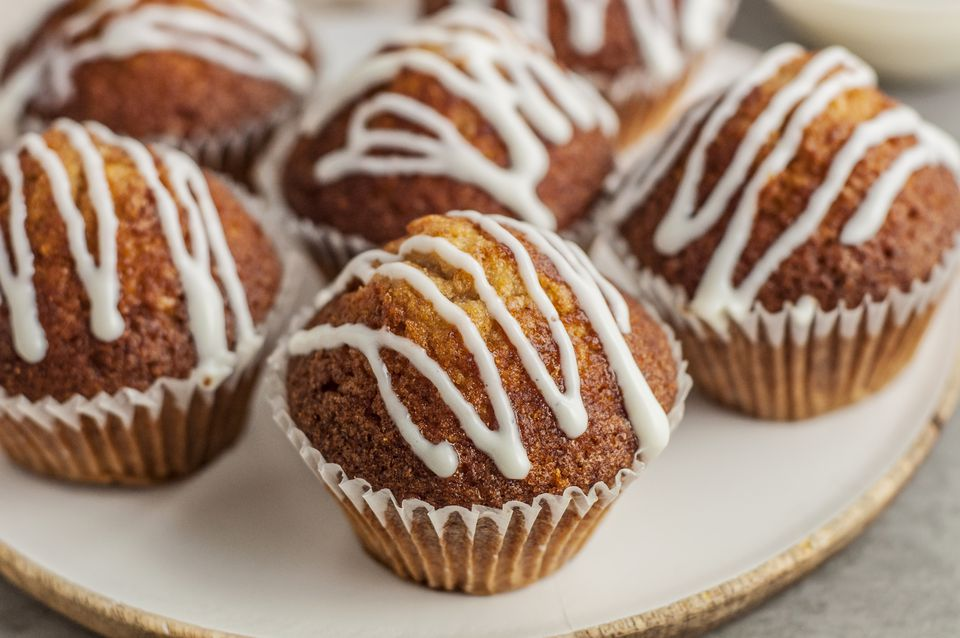 Cream cheese glaze on muffins
