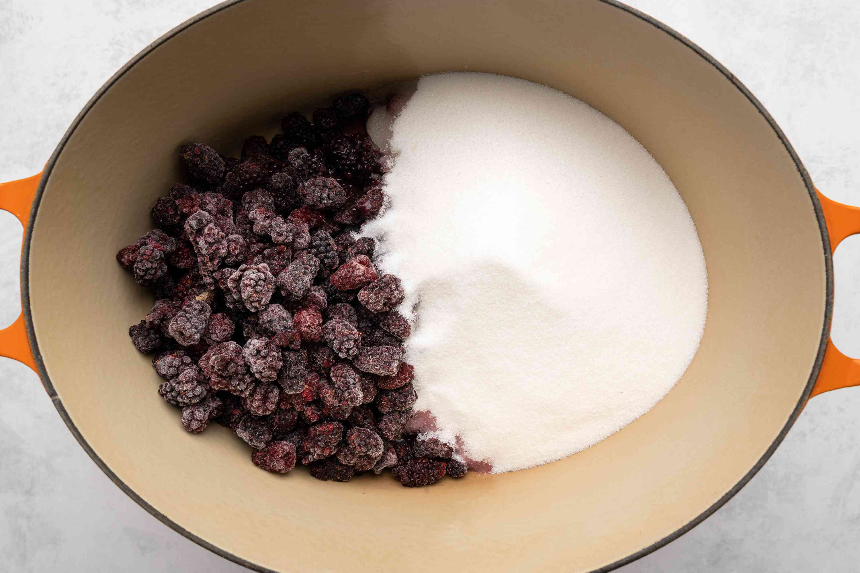 put the mulberries, sugar, and lemon juice into a large, nonreactive pot