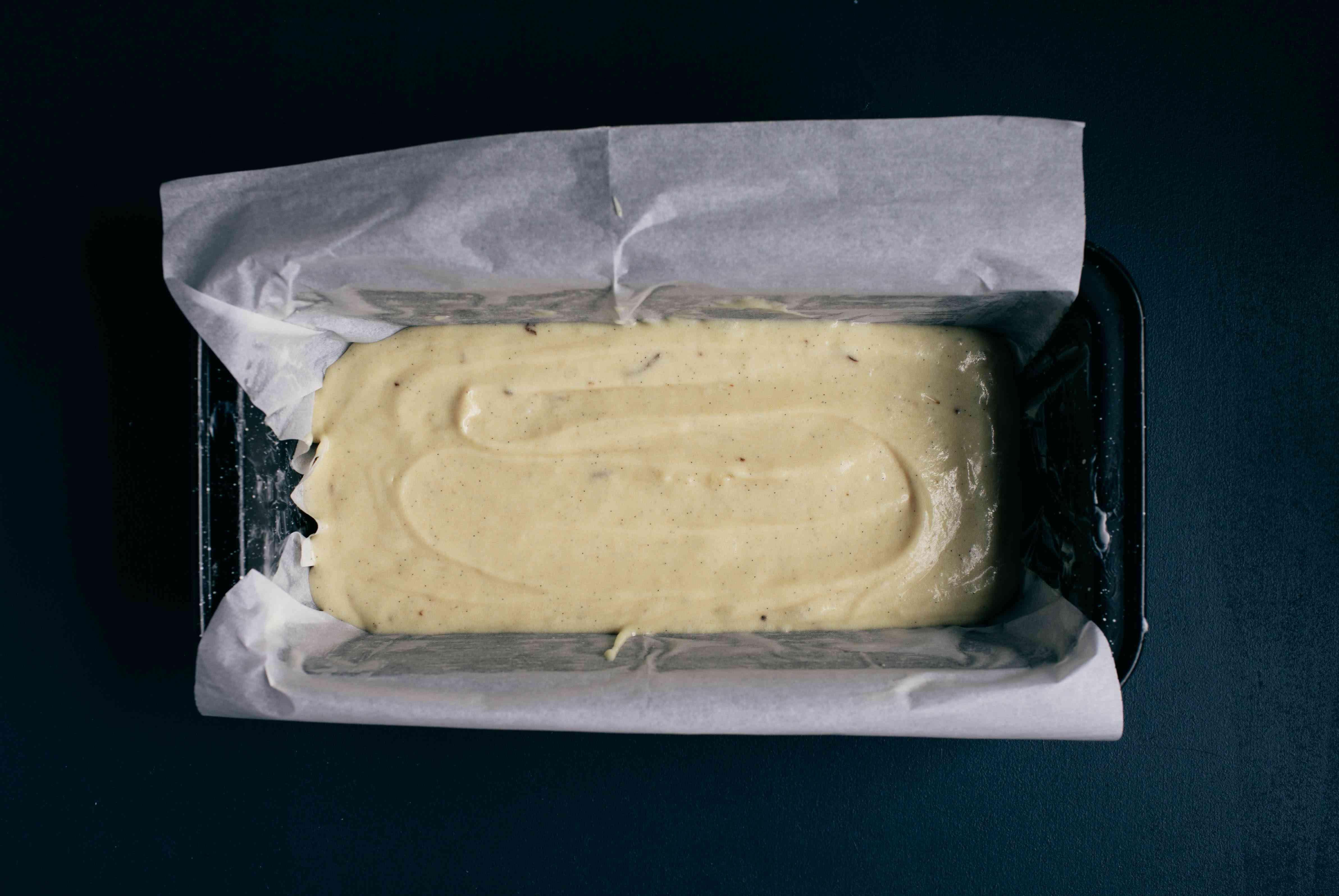 eclair cake batter in pan for baking