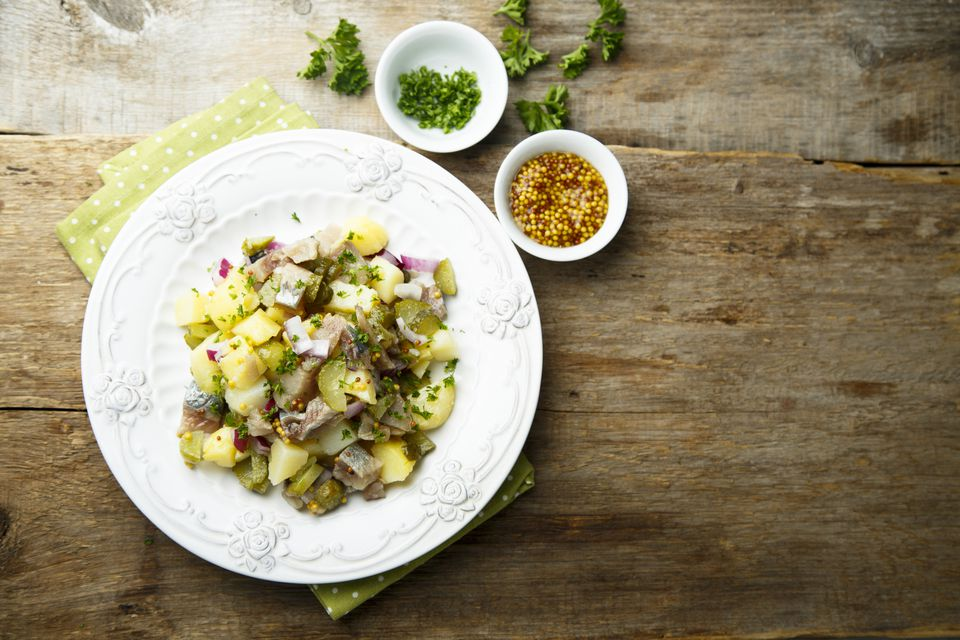 Potato salad with herring
