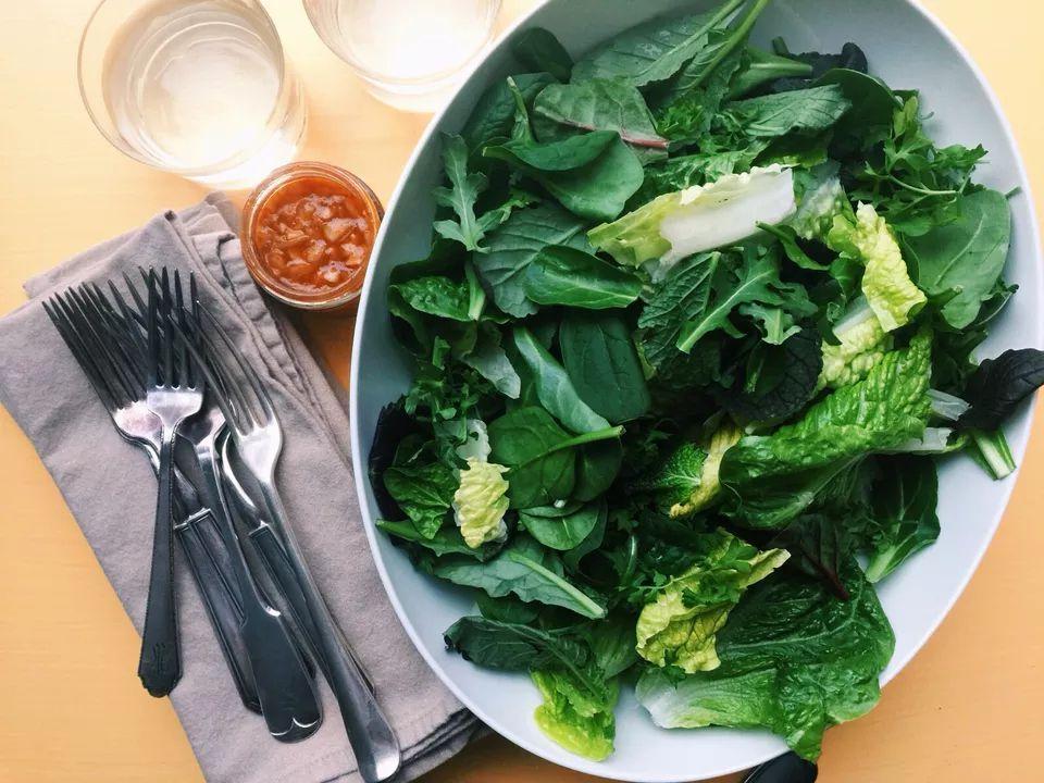 Spicy Greens Salad with Gochujang Dressing