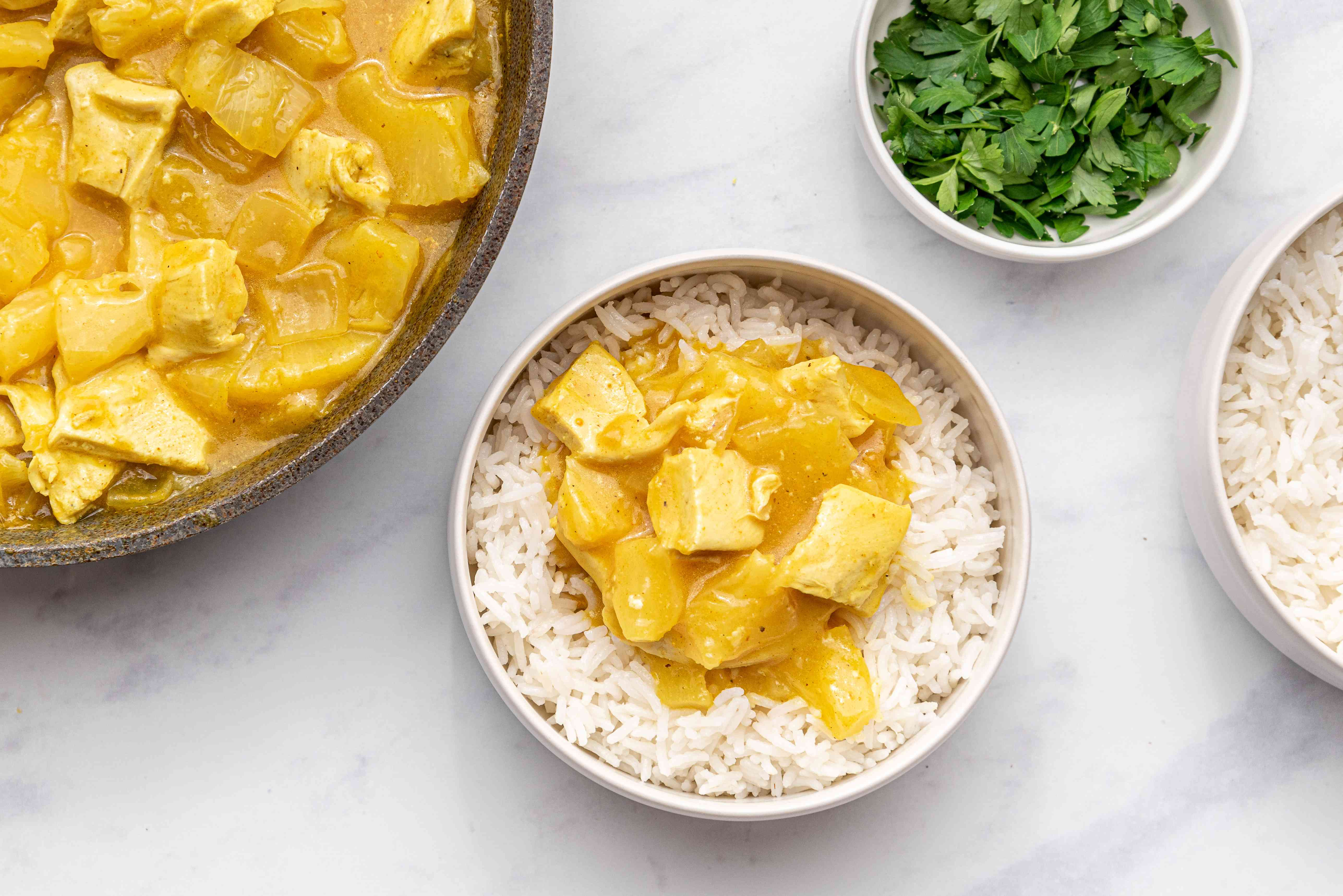 Leftover Turkey Curry in a bowl with rice