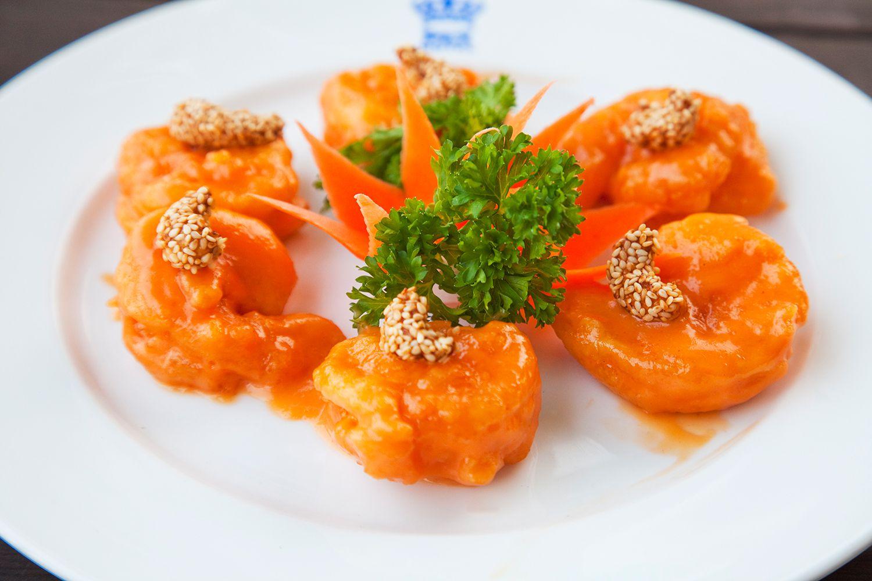Sauteed prawns in mandarin sauce at Rex hotel Rooftop restaurant.
