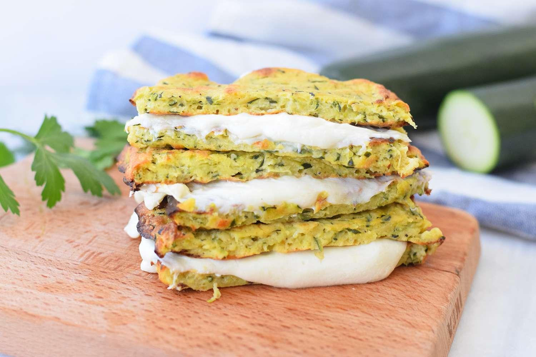 Zucchini grilled cheese sandwich on a cutting board