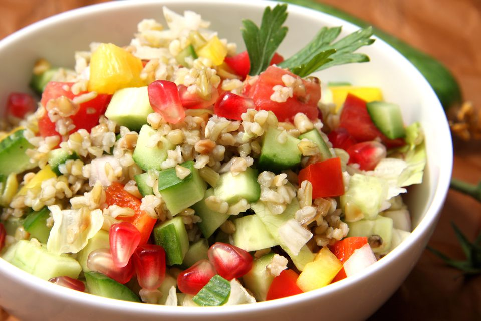 A bowl of freekeh and vegetable salad
