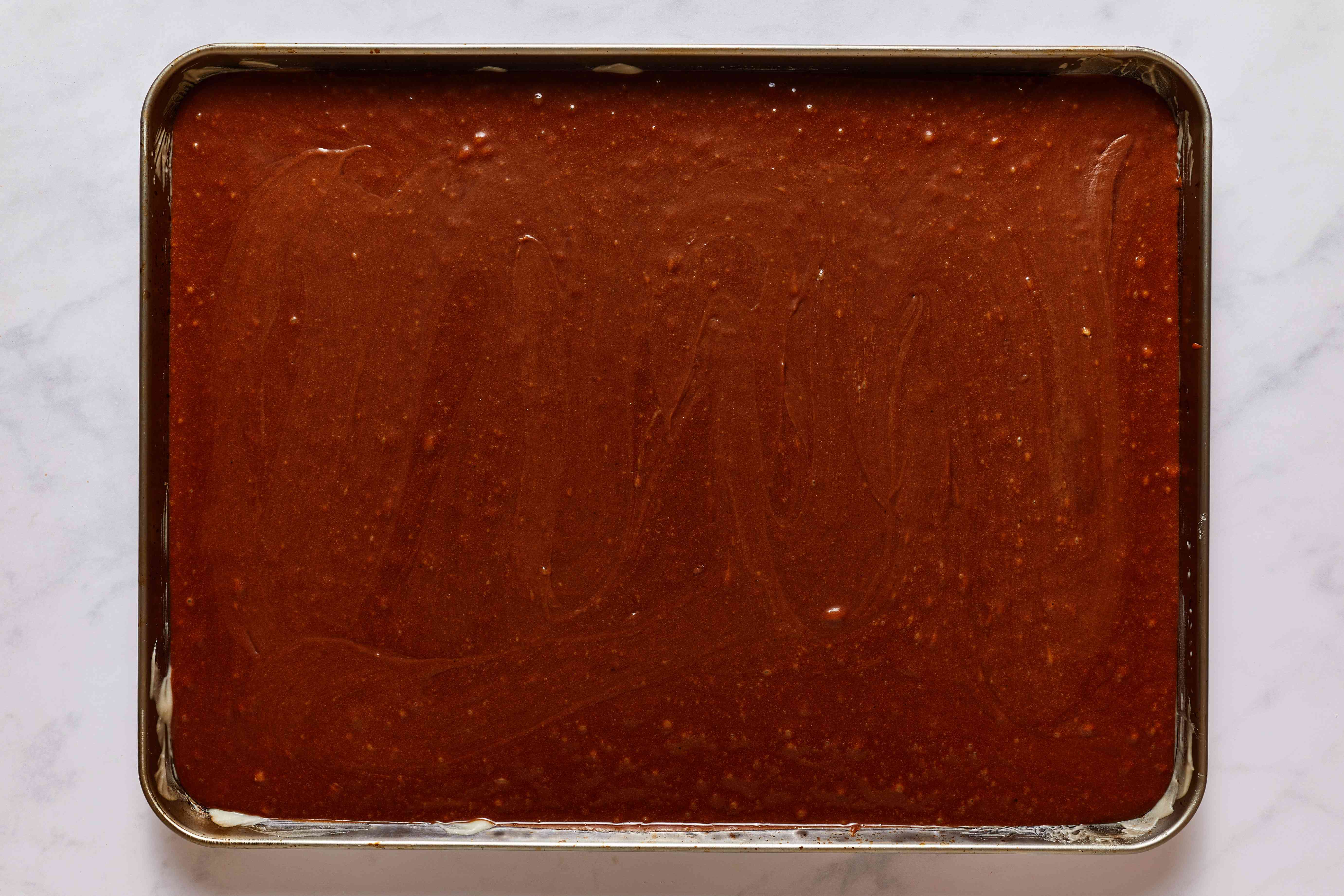batter in a baking pan