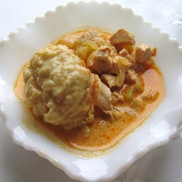 Hungarian Chicken Paprikash Soup with Bread Dumplings