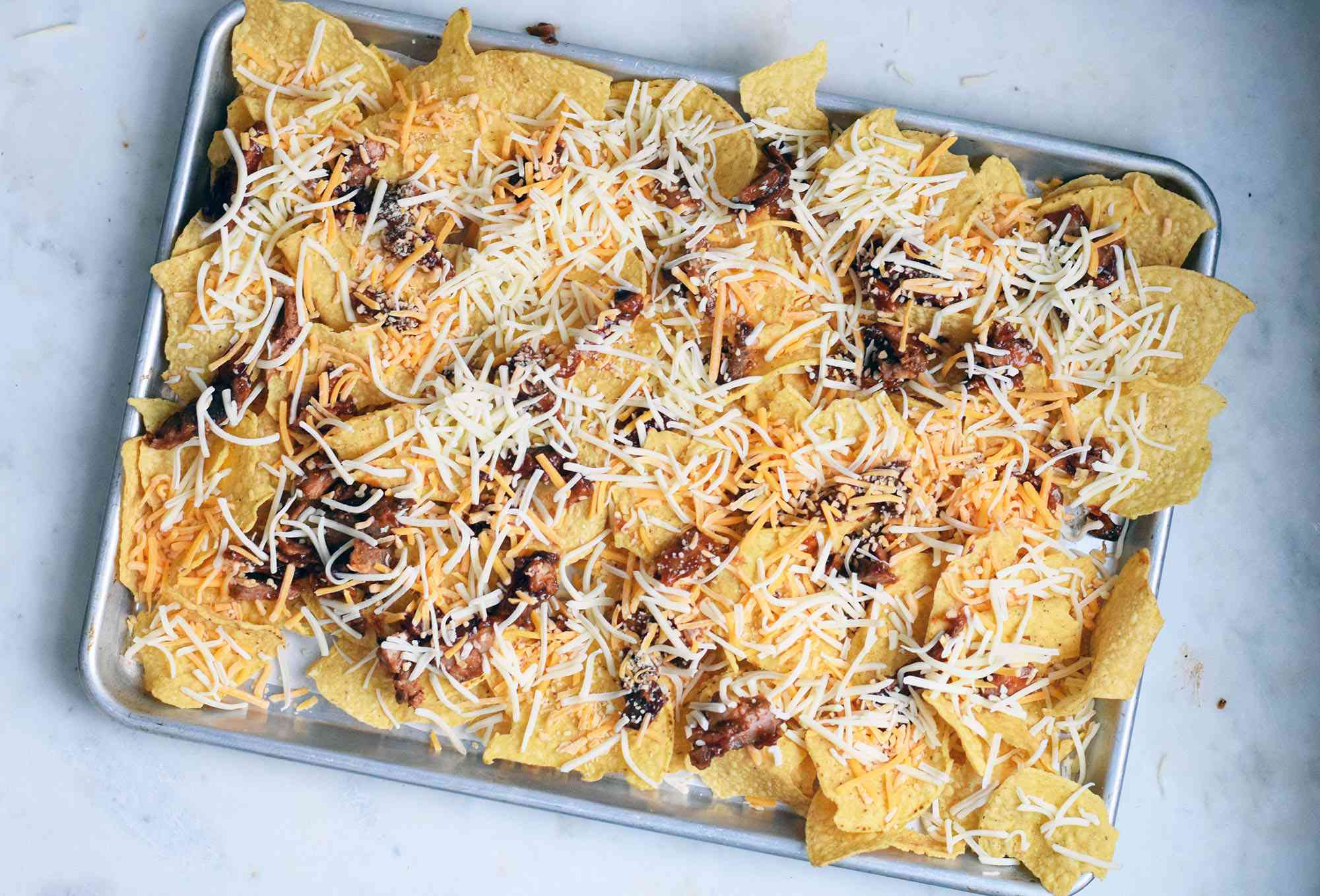cheese and pulled pork over chips