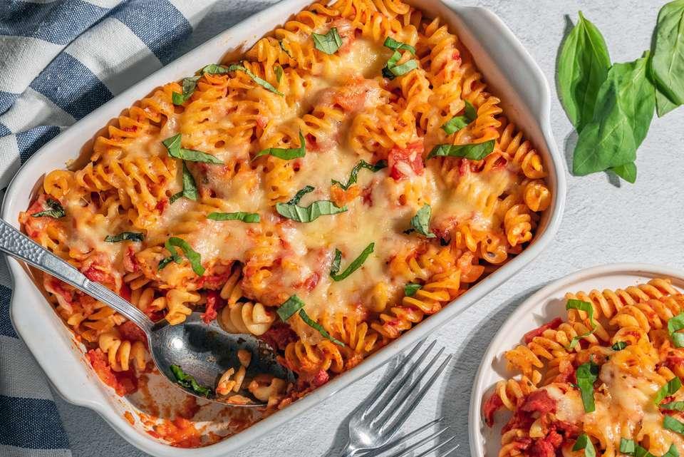Rotini bake with tomatoes and cheese recipe