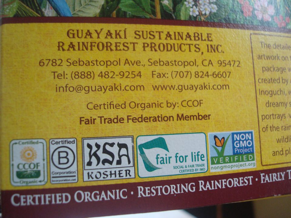 Kosher yerba mate with multiple food certification symbols on the label