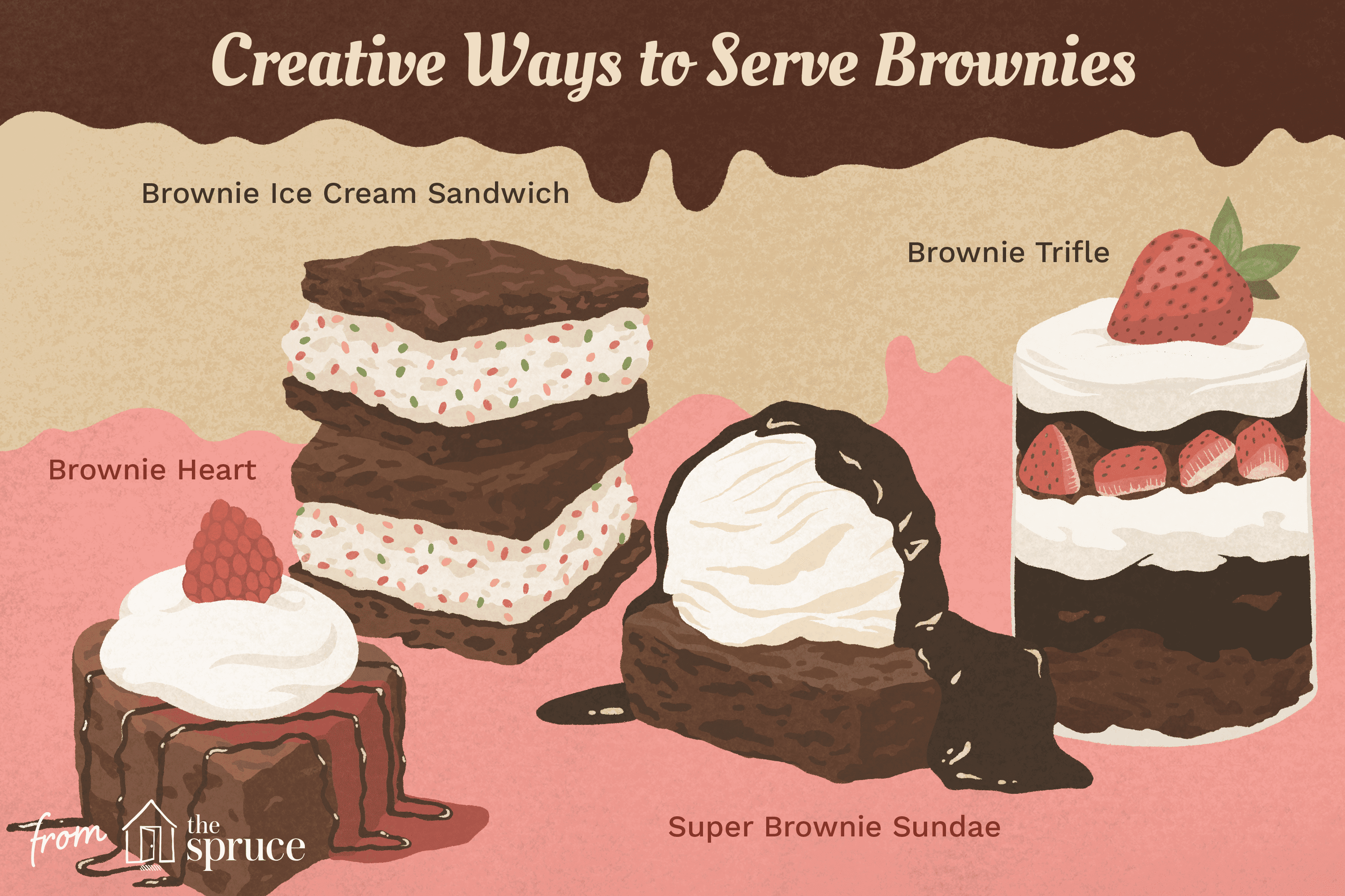 illustration that shows four different ways to serve brownies