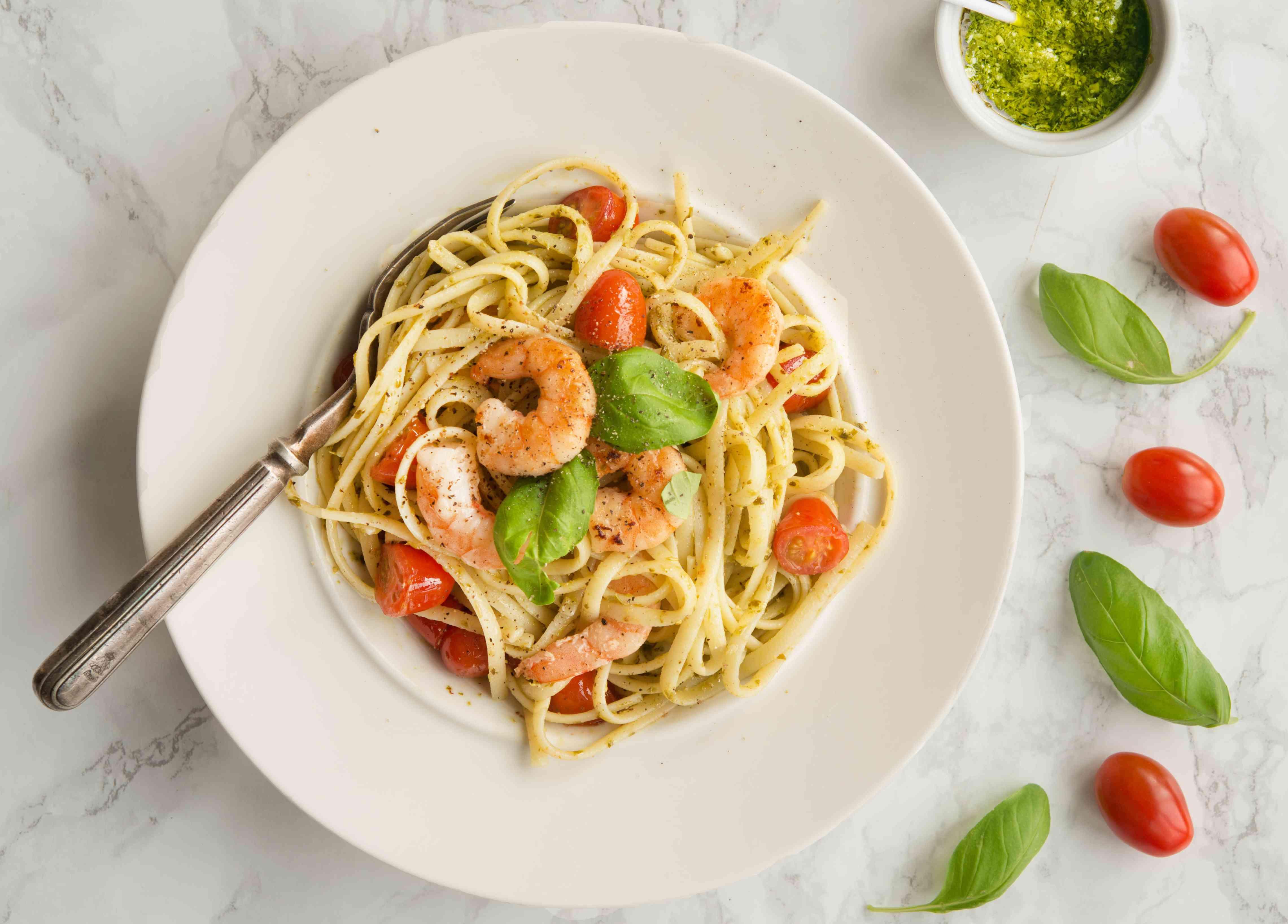Shrimp and Fresh Pesto Pasta Recipe